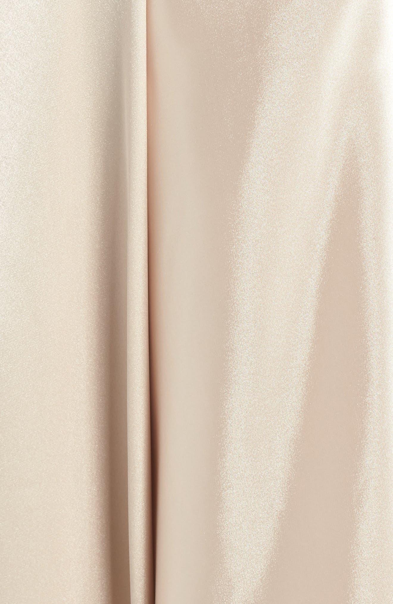 BLONDIE NITES, Strappy Back Crepe & Charmeuse Evening Dress, Alternate thumbnail 6, color, BLACK/ GOLD