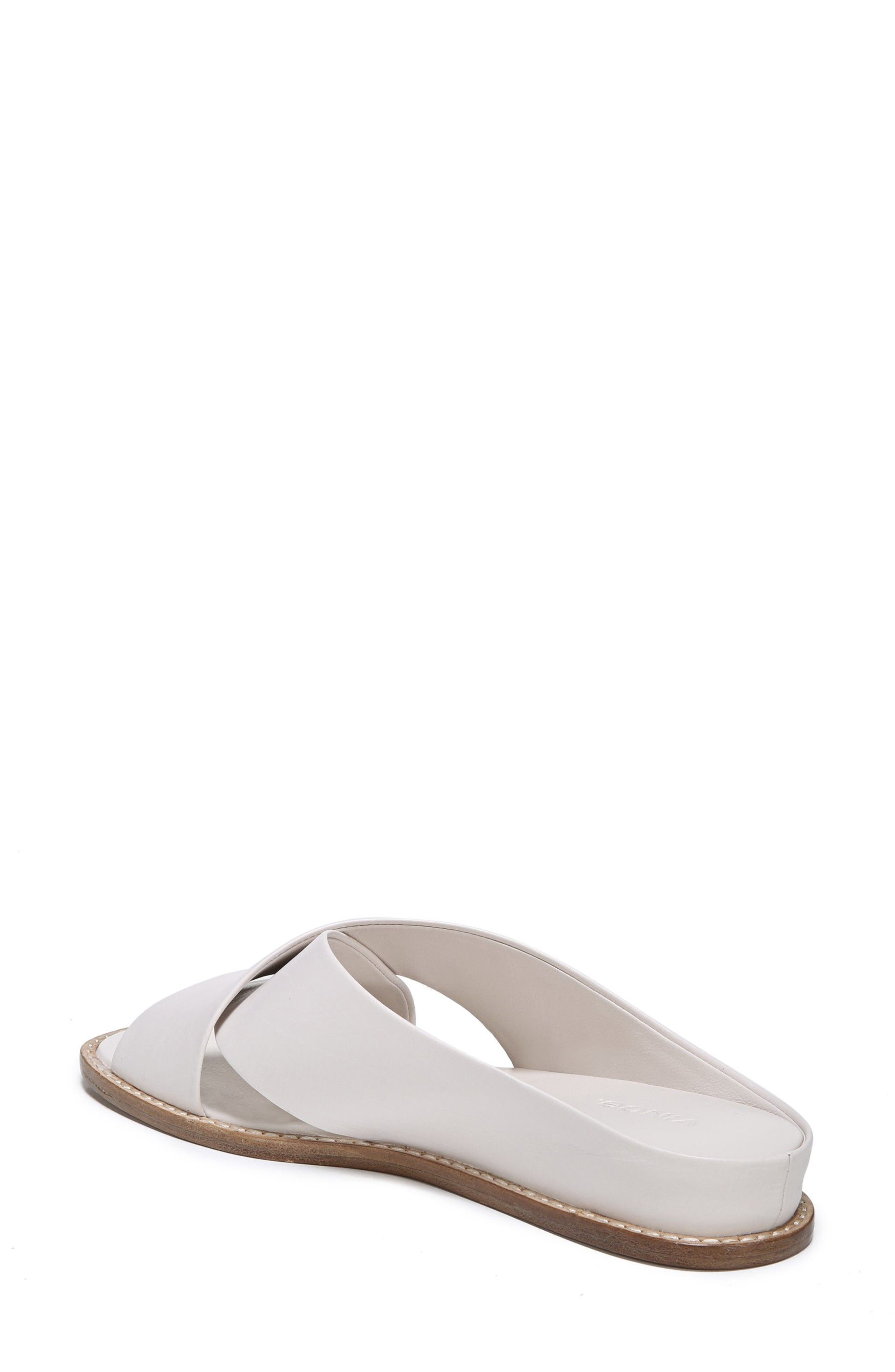 VINCE, Fairley Cross Strap Sandal, Alternate thumbnail 2, color, OFF WHITE LEATHER