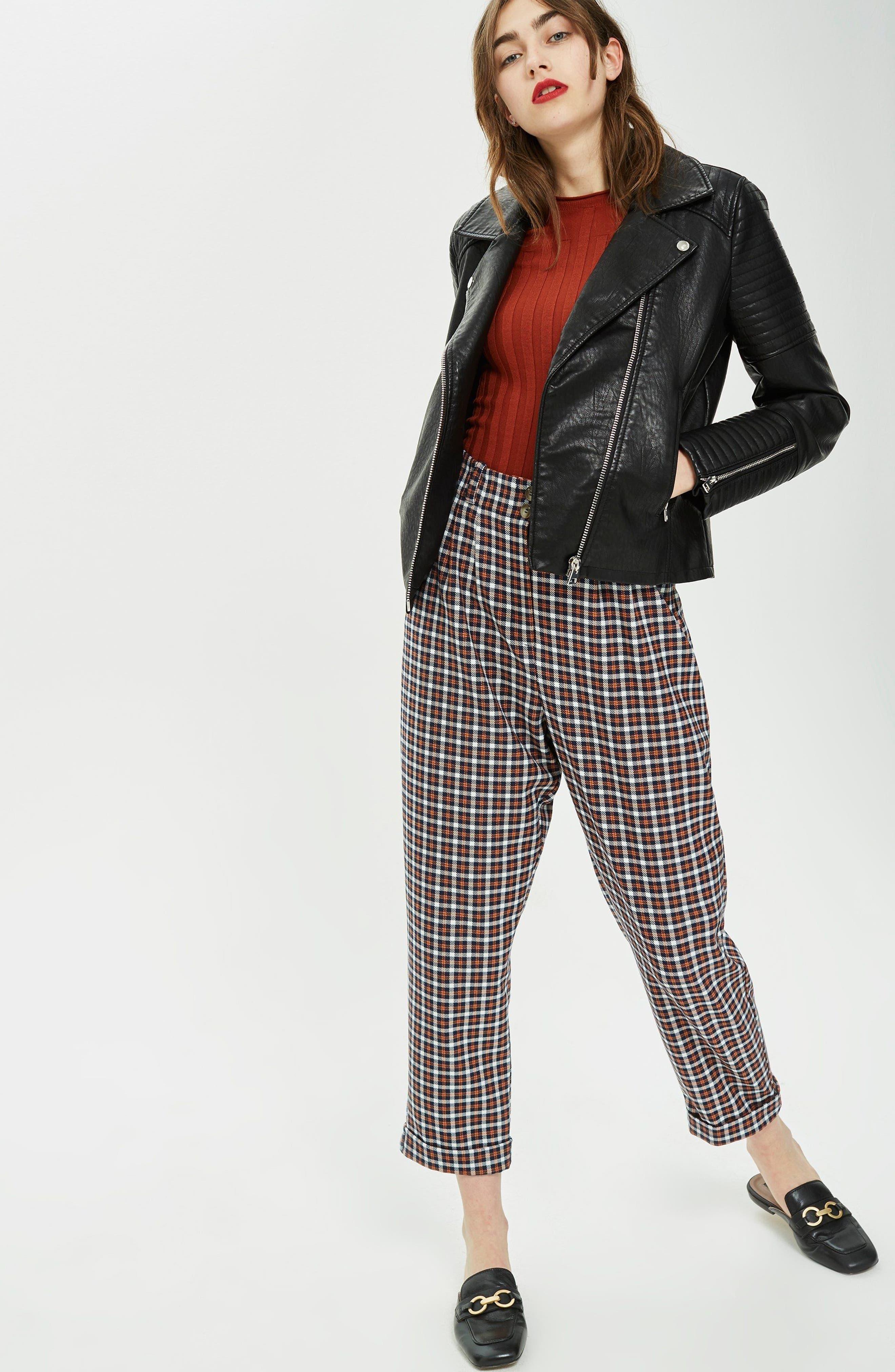 TOPSHOP, Rosa Biker Jacket, Alternate thumbnail 7, color, BLACK