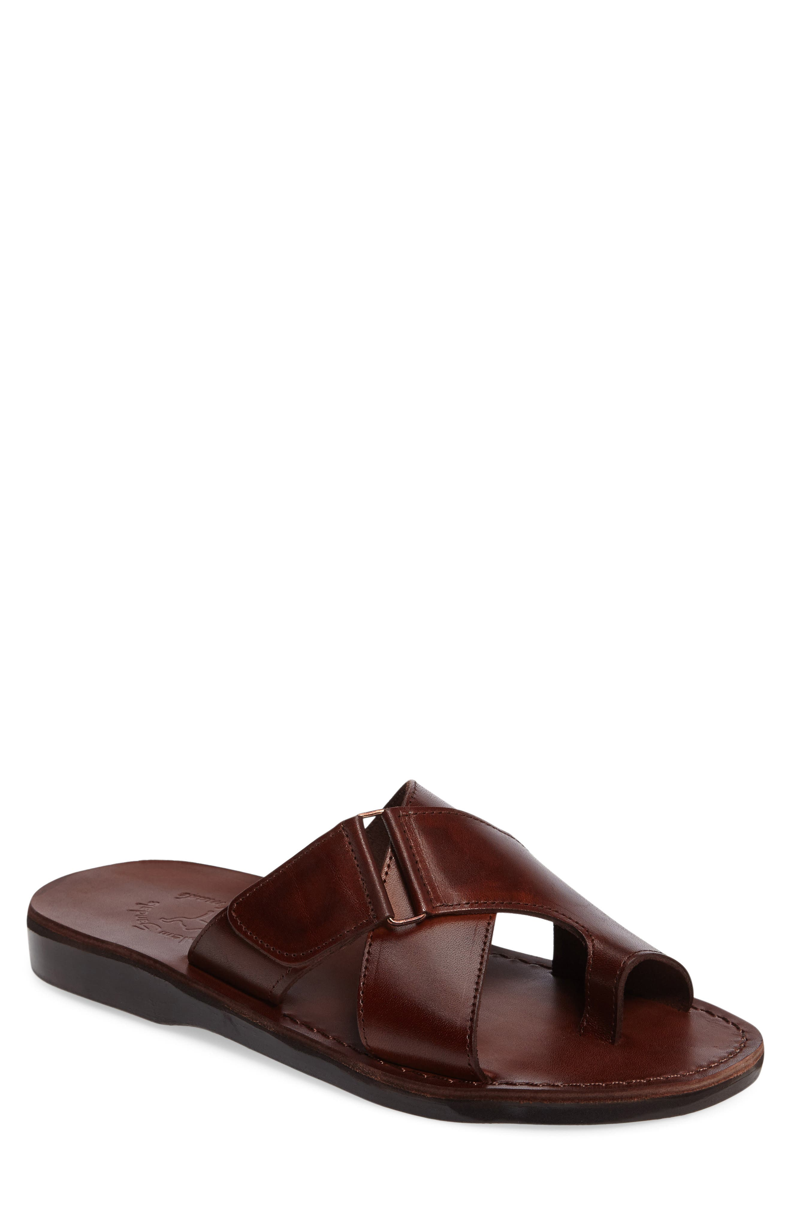JERUSALEM SANDALS Asher Slide Sandal, Main, color, BROWN LEATHER