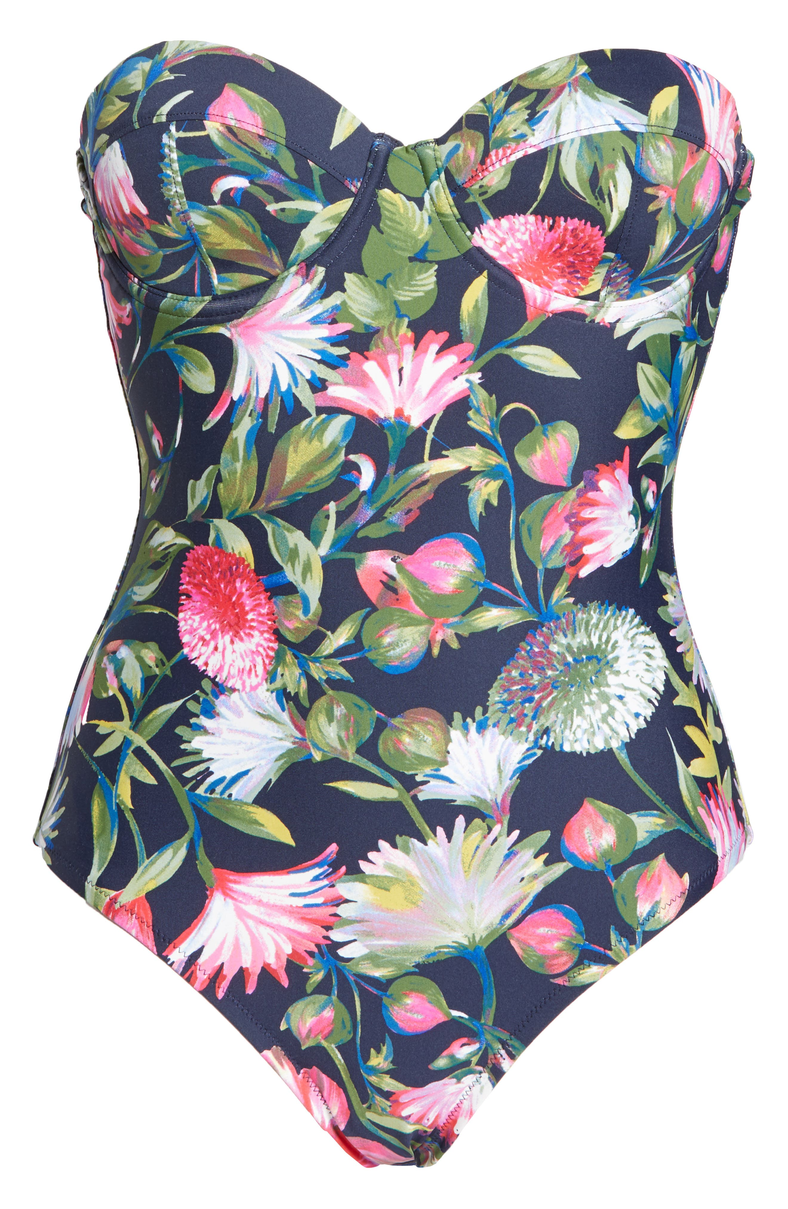 J.CREW, Floral Underwire One-Piece Swimsuit, Alternate thumbnail 7, color, NAVY
