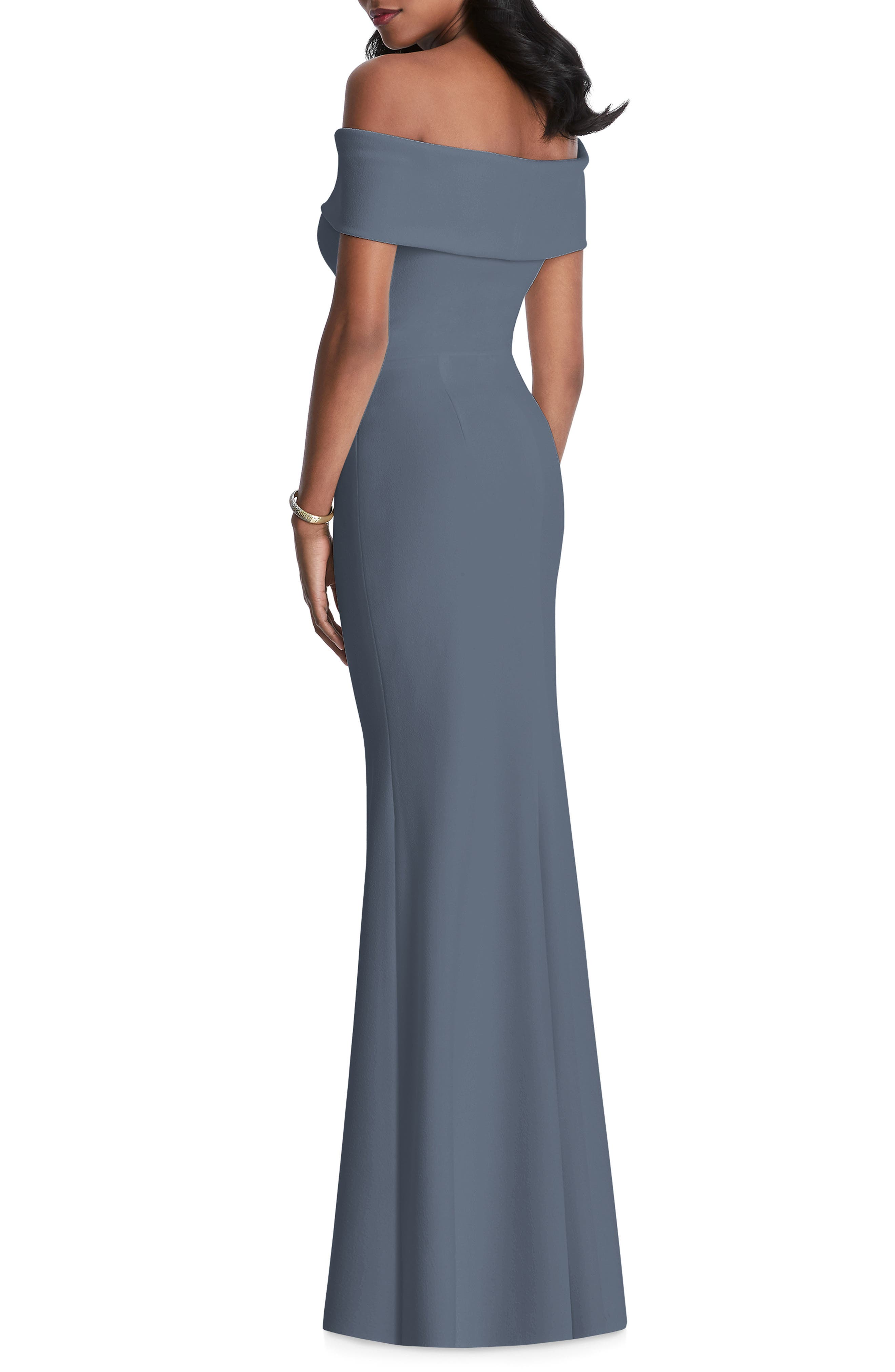 AFTER SIX, Off the Shoulder Stretch Crepe Gown, Alternate thumbnail 2, color, SILVERSTONE