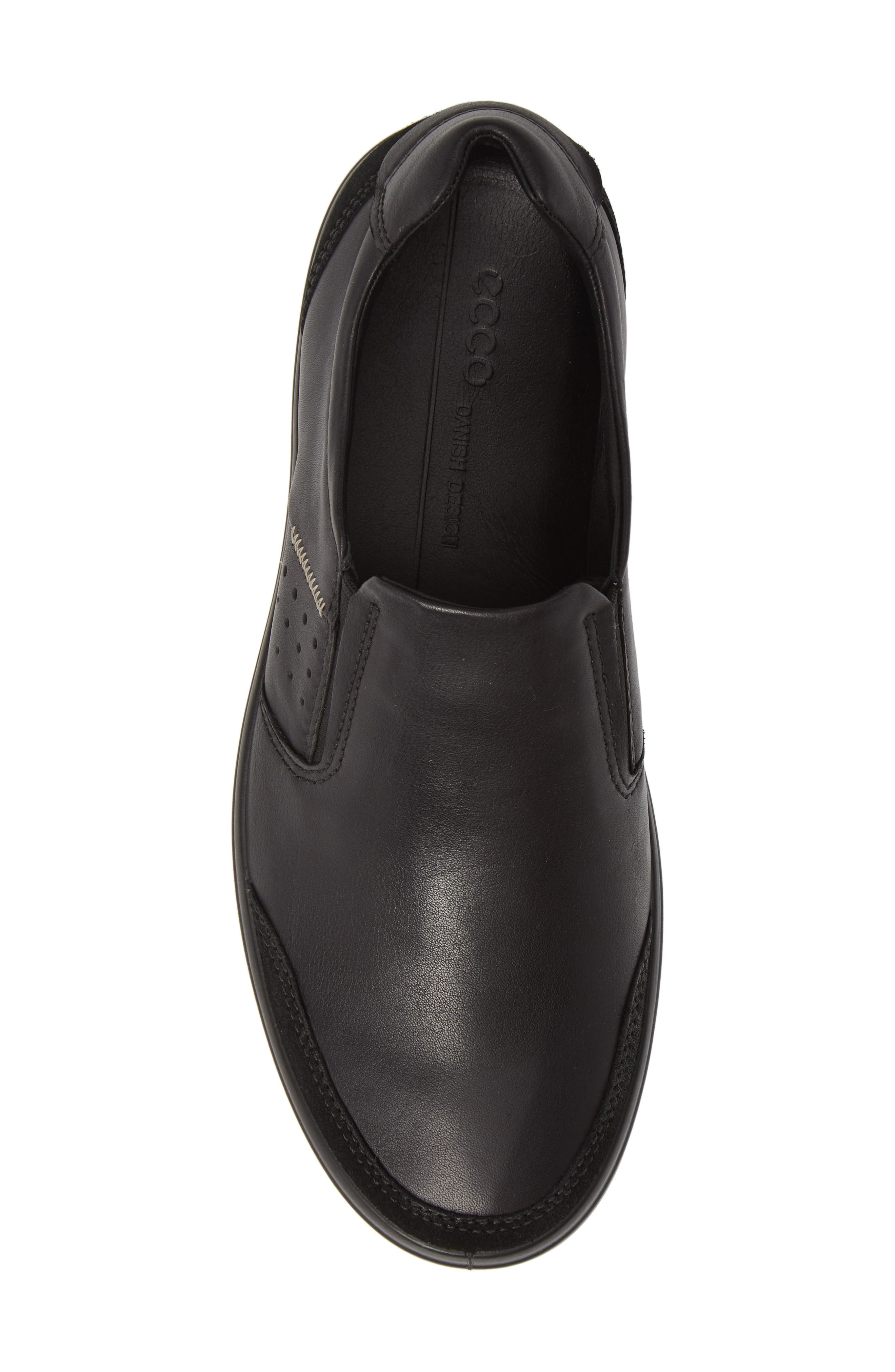 ECCO, Soft 7 Relaxed Slip-On, Alternate thumbnail 5, color, BLACK LEATHER