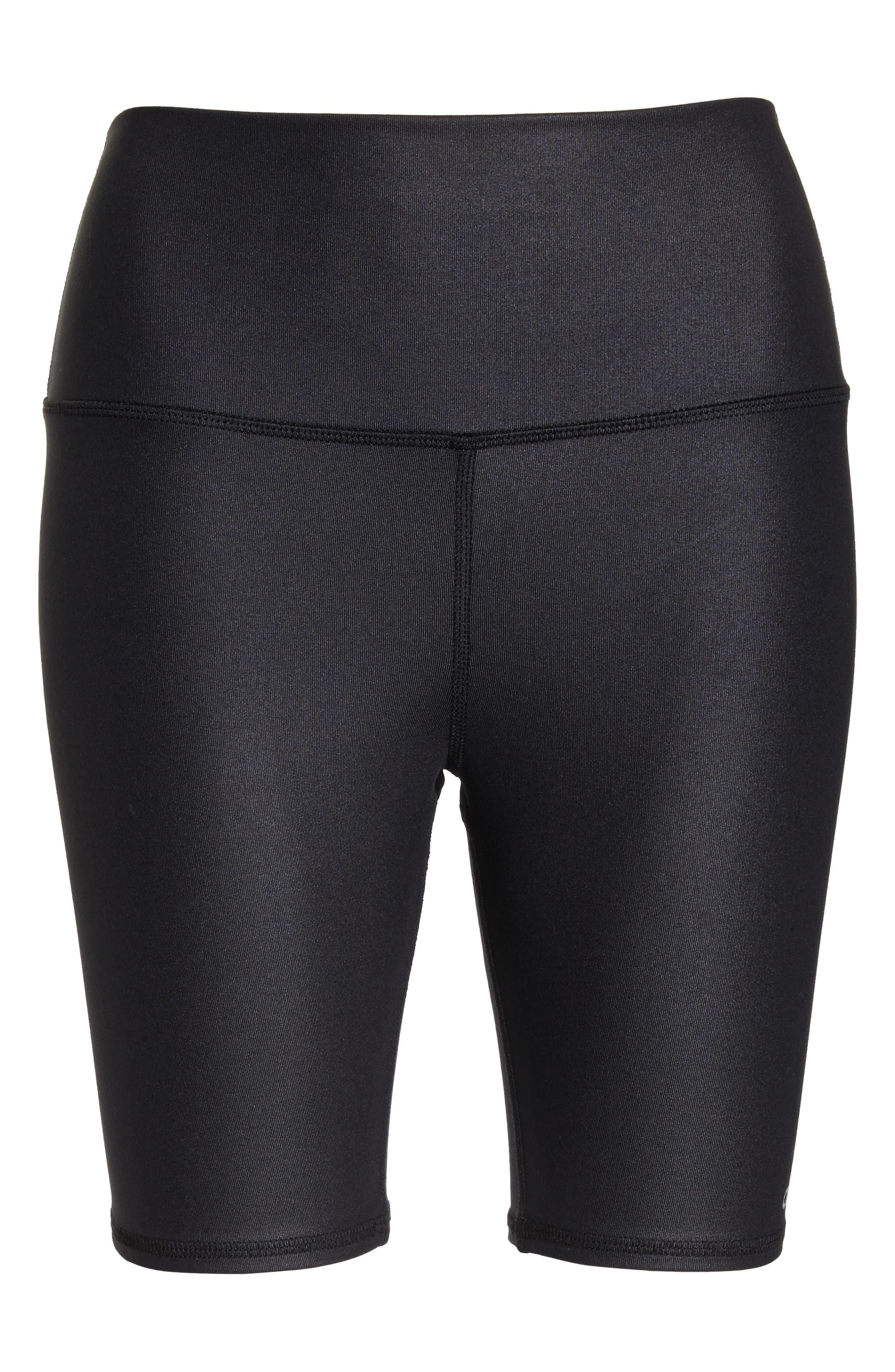 ALO, High Waist Biker Shorts, Alternate thumbnail 7, color, BLACK GLOSSY