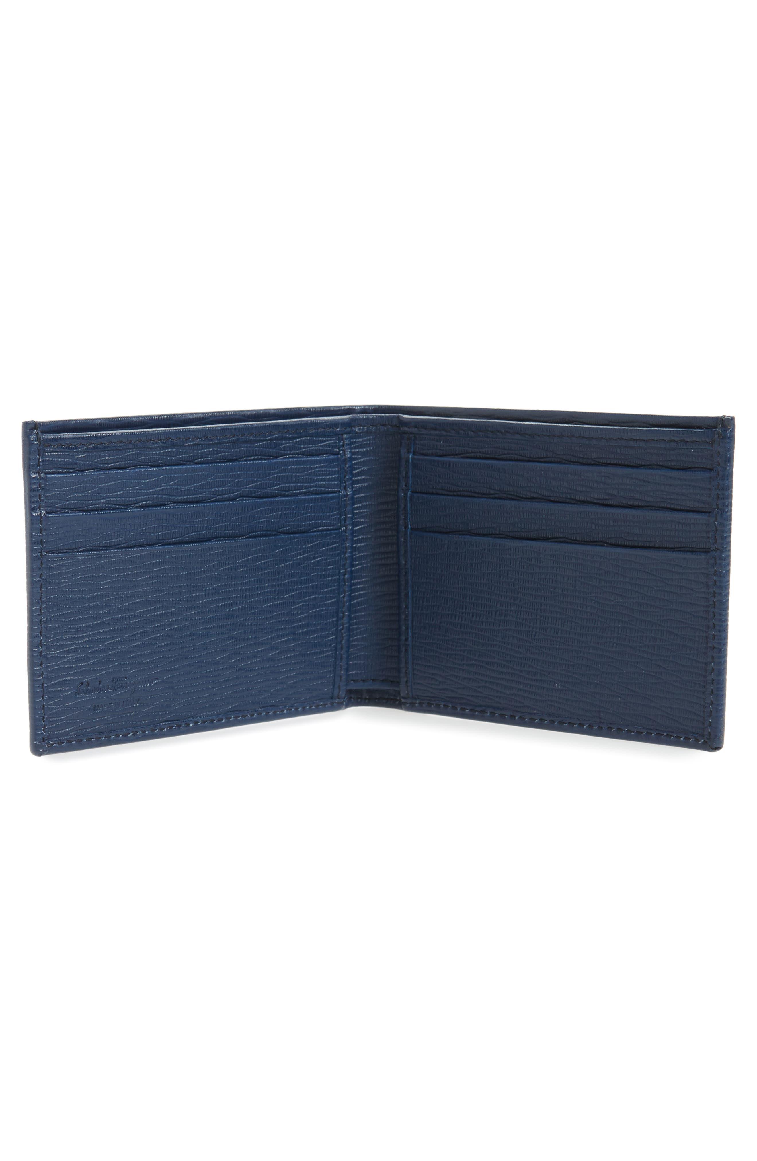 SALVATORE FERRAGAMO, Revival Bifold Leather Wallet, Alternate thumbnail 2, color, BLUE