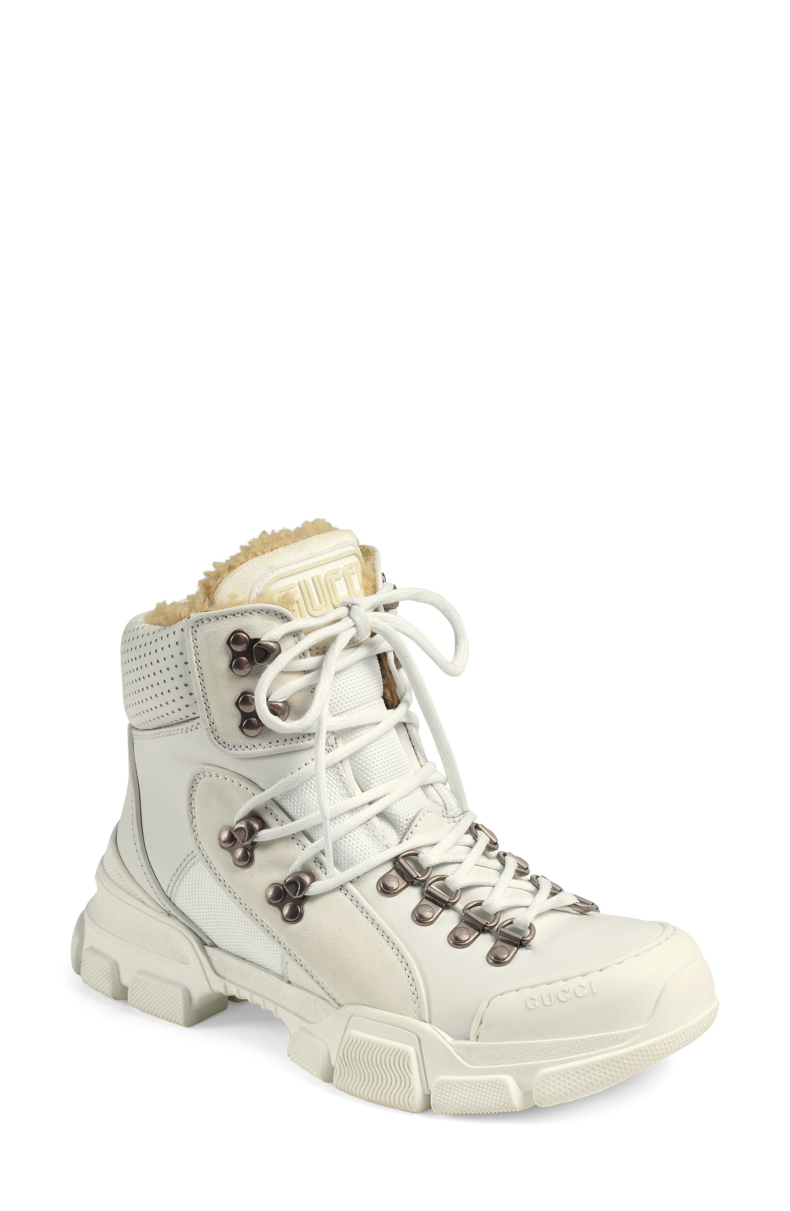 GUCCI, Journey Genuine Shearling Hiker Boot, Main thumbnail 1, color, WHITE