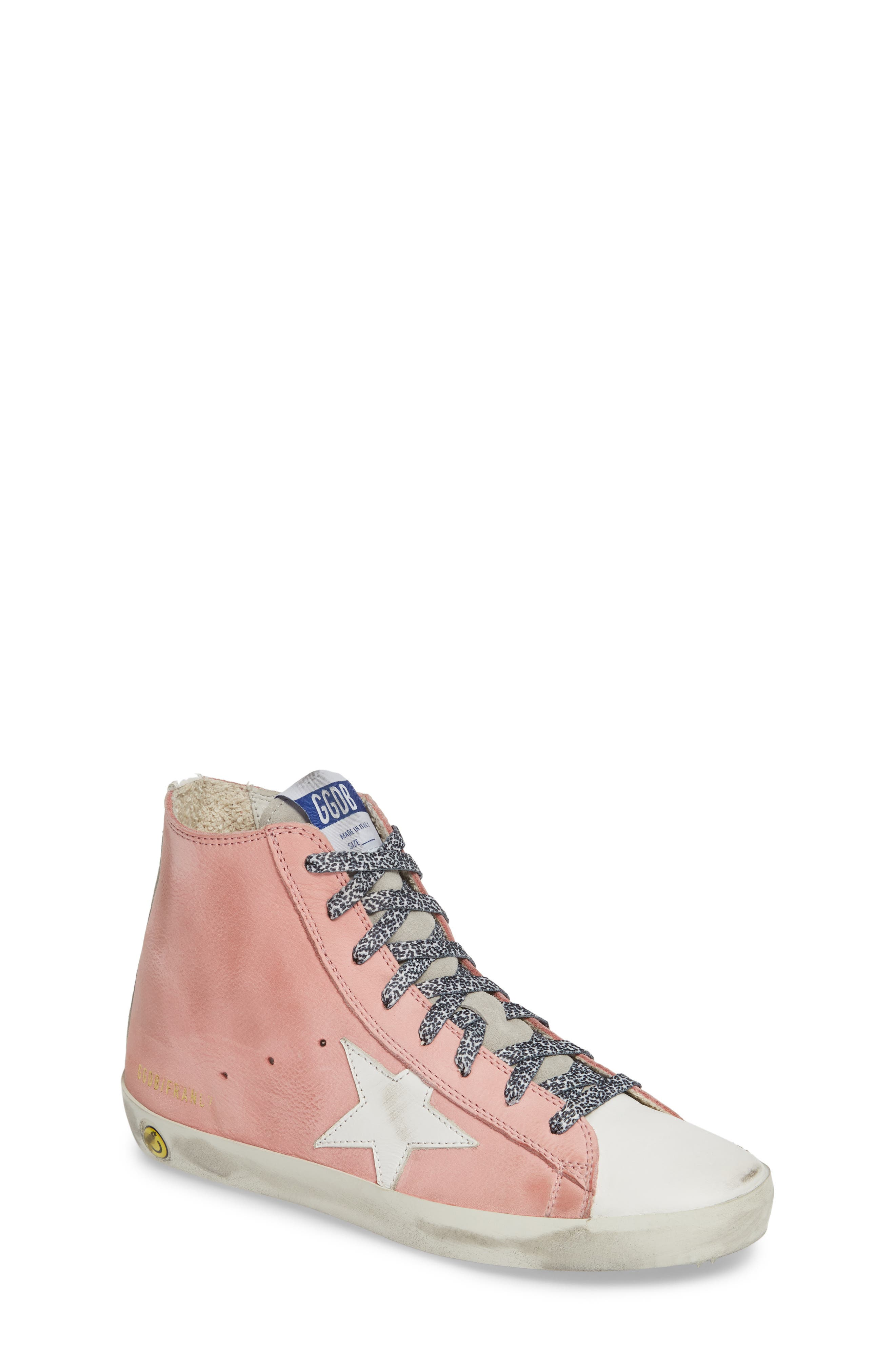 GOLDEN GOOSE, Francy High Top Sneaker, Main thumbnail 1, color, PINK PEONY