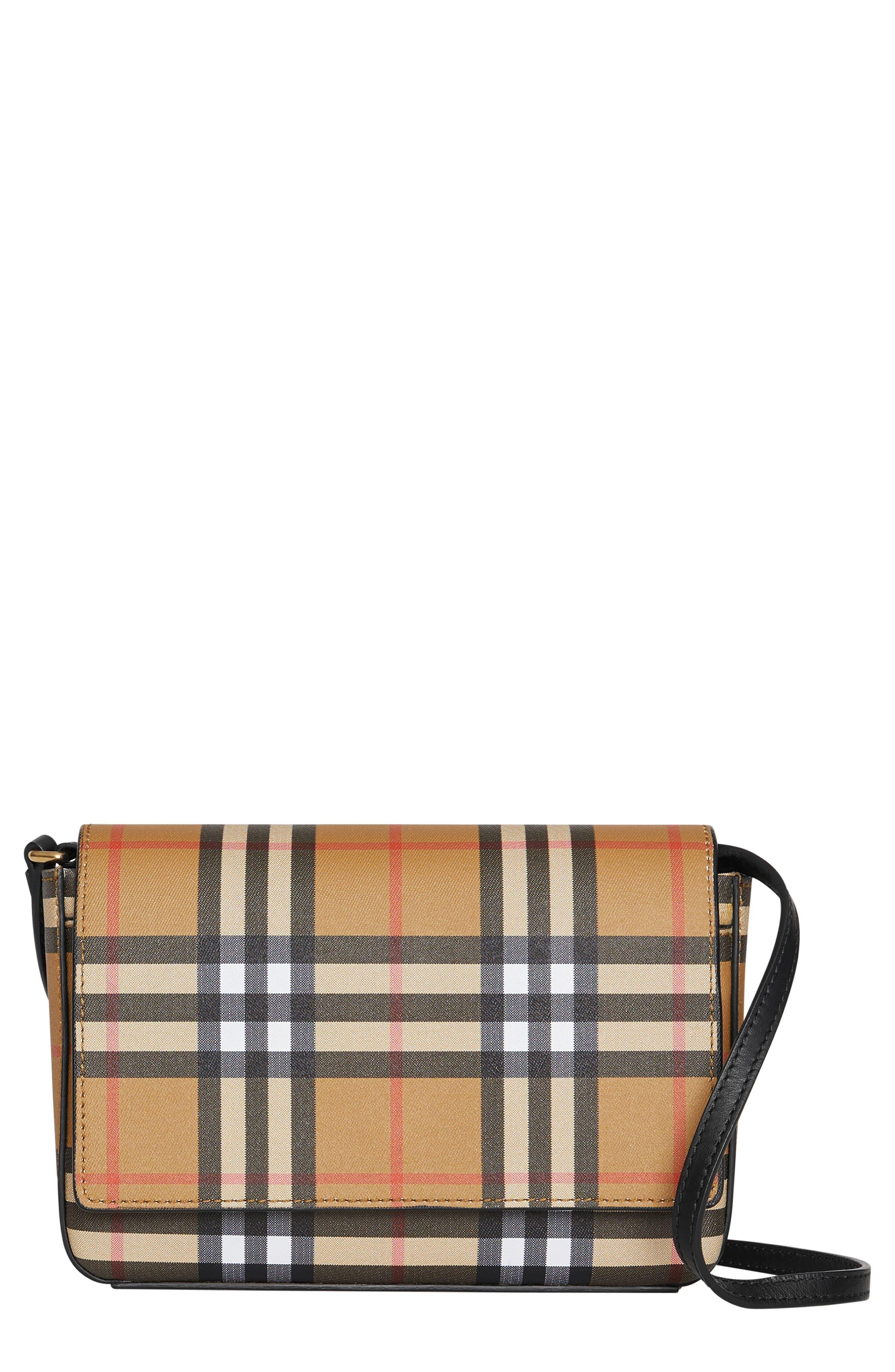 BURBERRY Hampshire Vintage Check Crossbody Bag, Main, color, BLACK