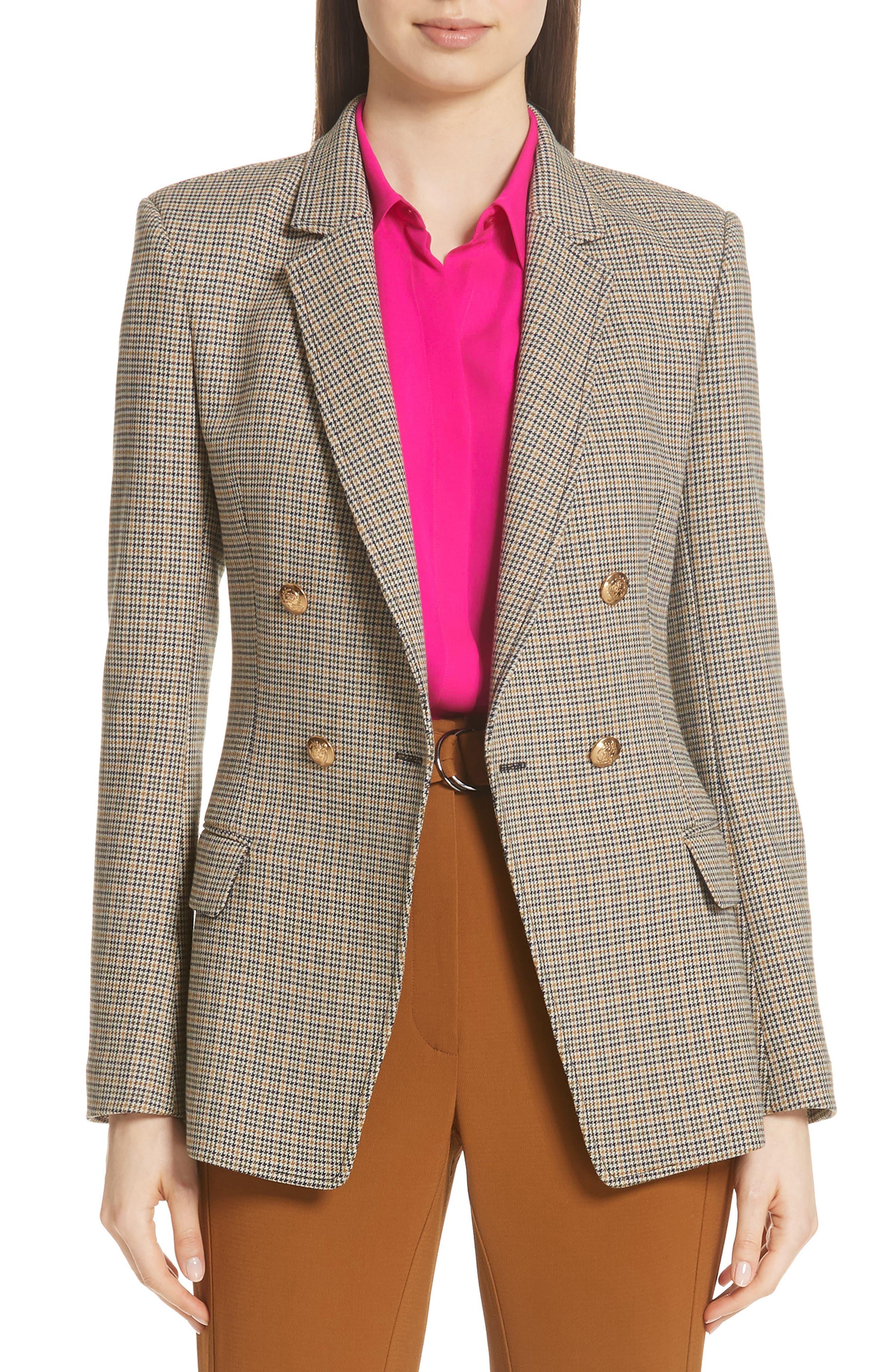 A.L.C. Sedgwick Check Blazer, Main, color, GOLD MULTI