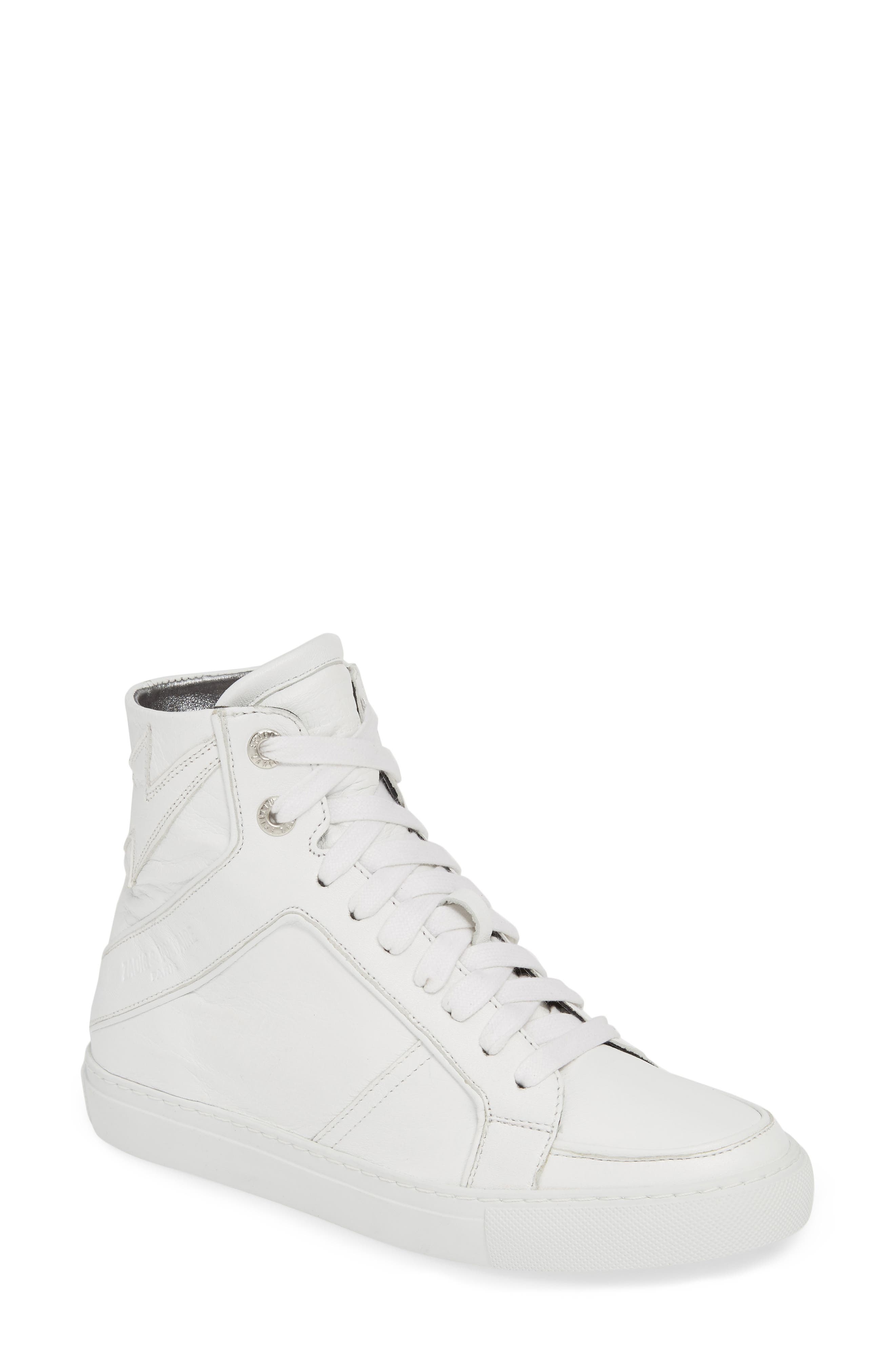 ZADIG & VOLTAIRE, Flash High Top Sneaker, Main thumbnail 1, color, BLANC