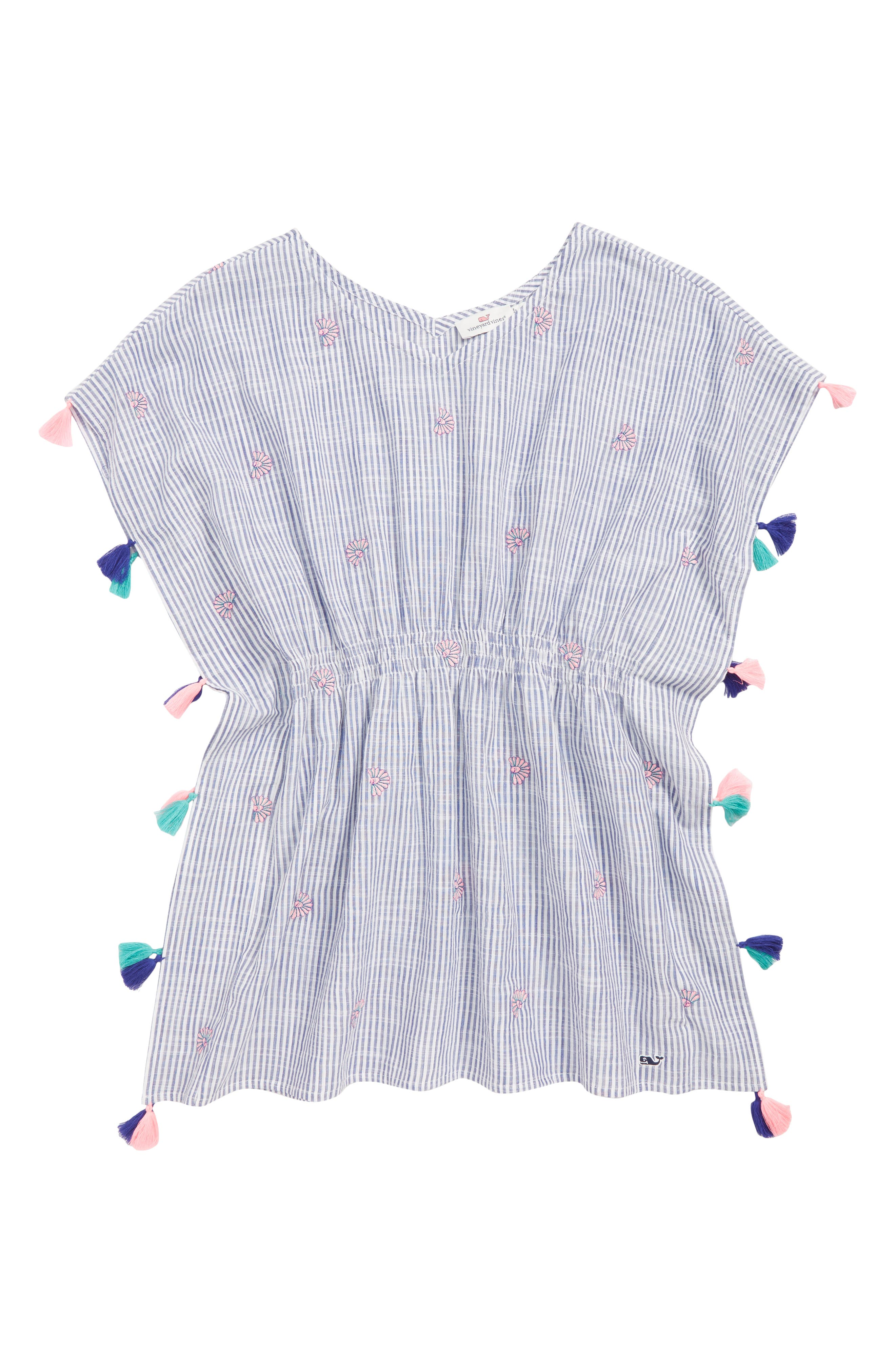VINEYARD VINES Shell Embroidered Cover-Up Tunic, Main, color, CORNFLOWER
