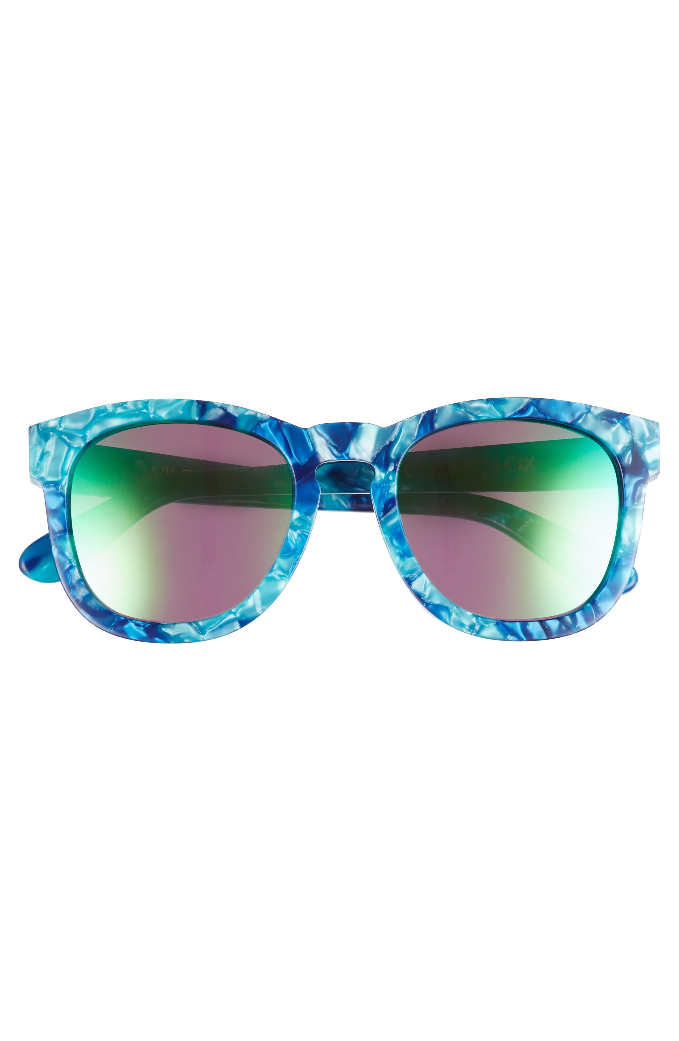 WILDFOX, Classic Fox - Deluxe 59mm Sunglasses, Alternate thumbnail 3, color, MONTEREY/ GREEN MIRROR