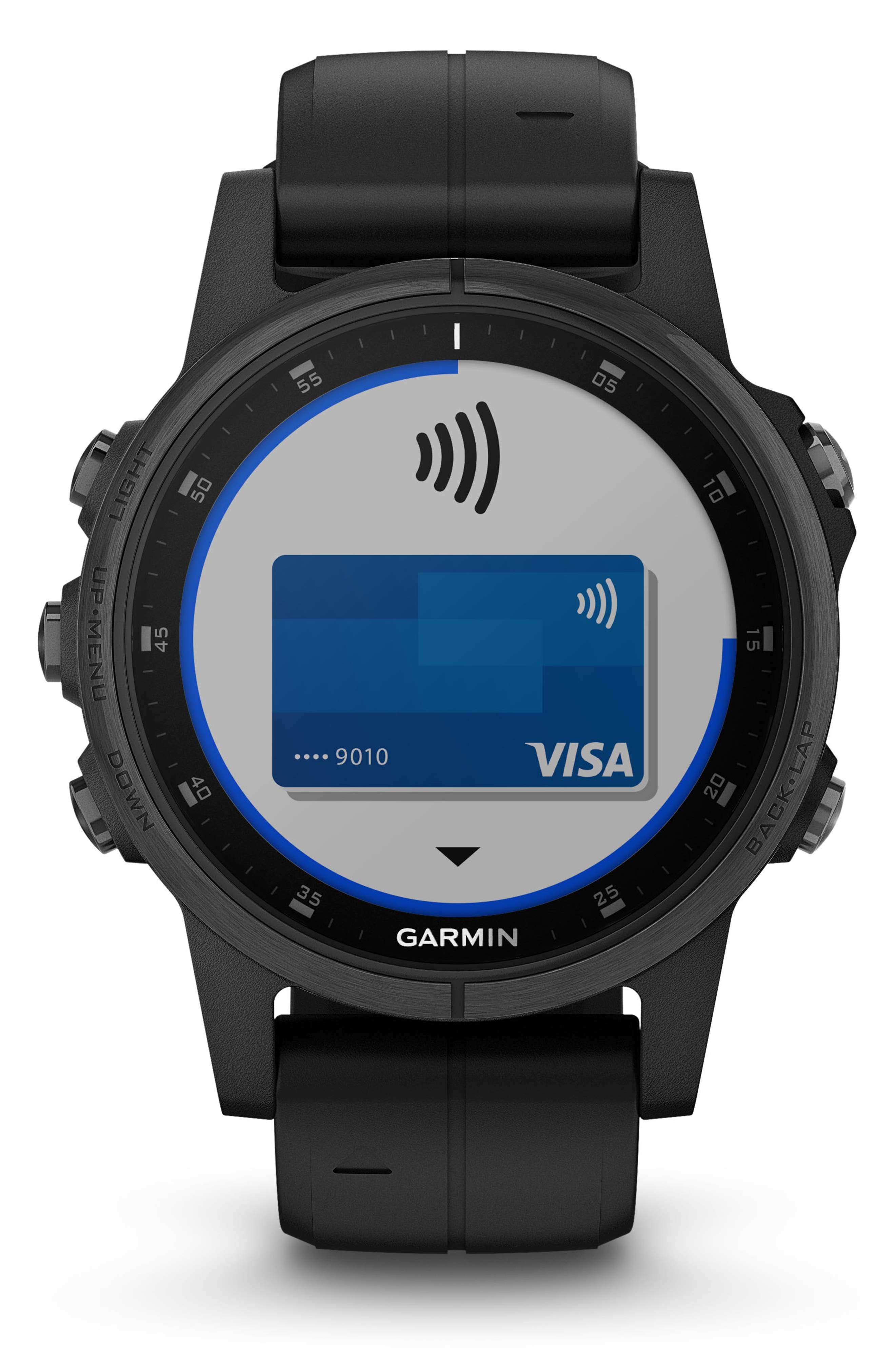 GARMIN, fenix<sup>®</sup> 5S Plus Sapphire Premium Multisport GPS Watch, 42mm, Alternate thumbnail 8, color, BLACK