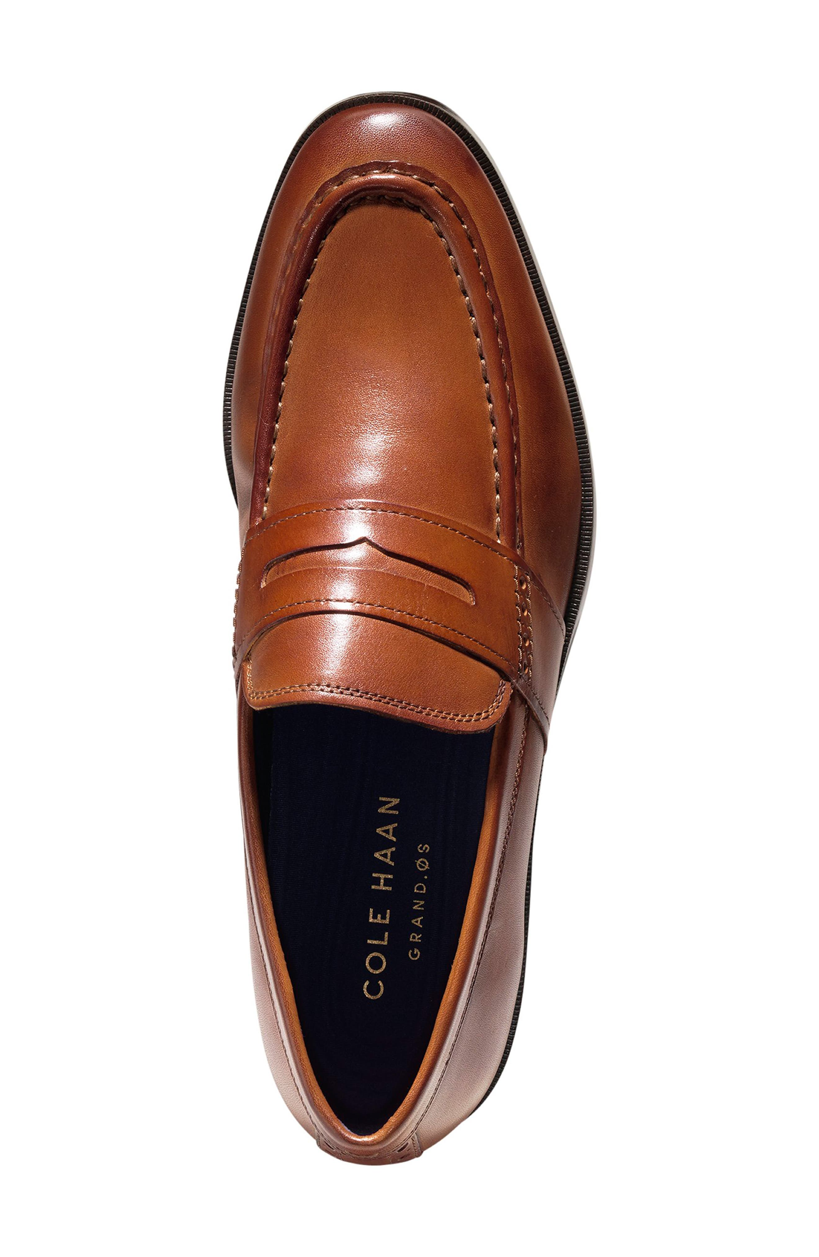 COLE HAAN, Jefferson Grand Penny Loafer, Alternate thumbnail 4, color, BRITISH TAN LEATHER