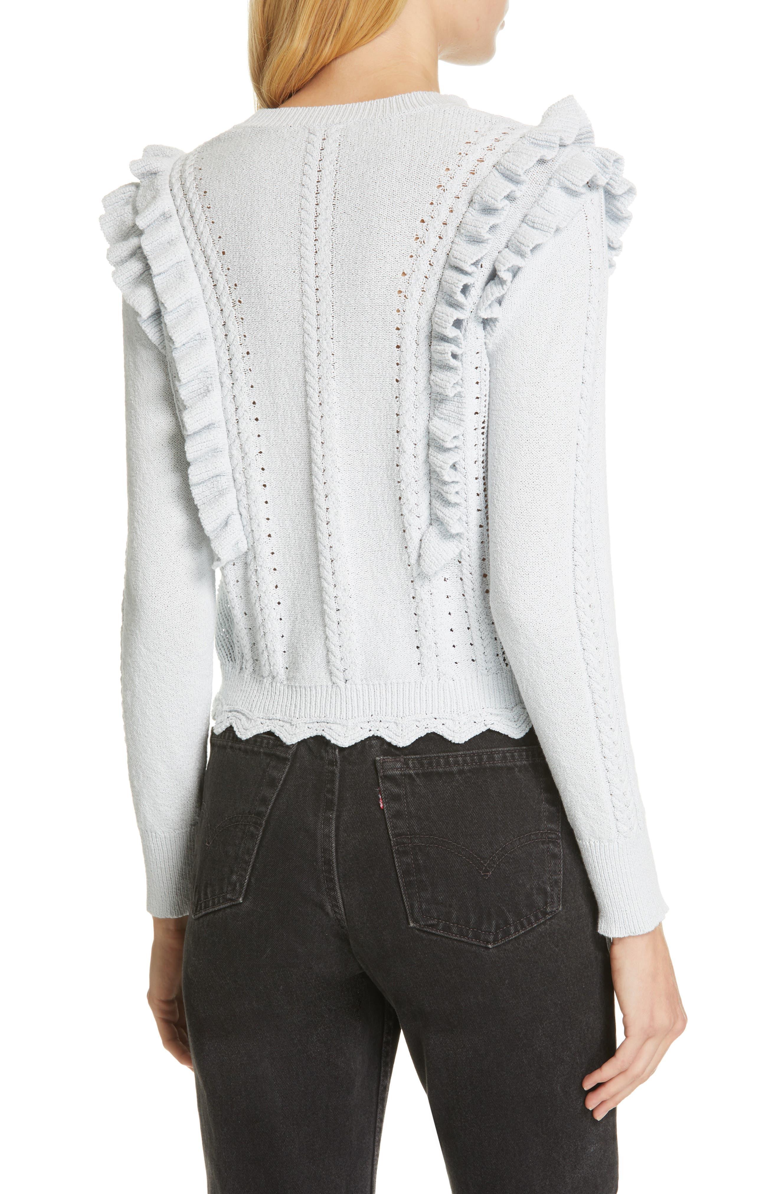 REBECCA TAYLOR, Ruffled Sweater, Alternate thumbnail 2, color, LIGHT MINT