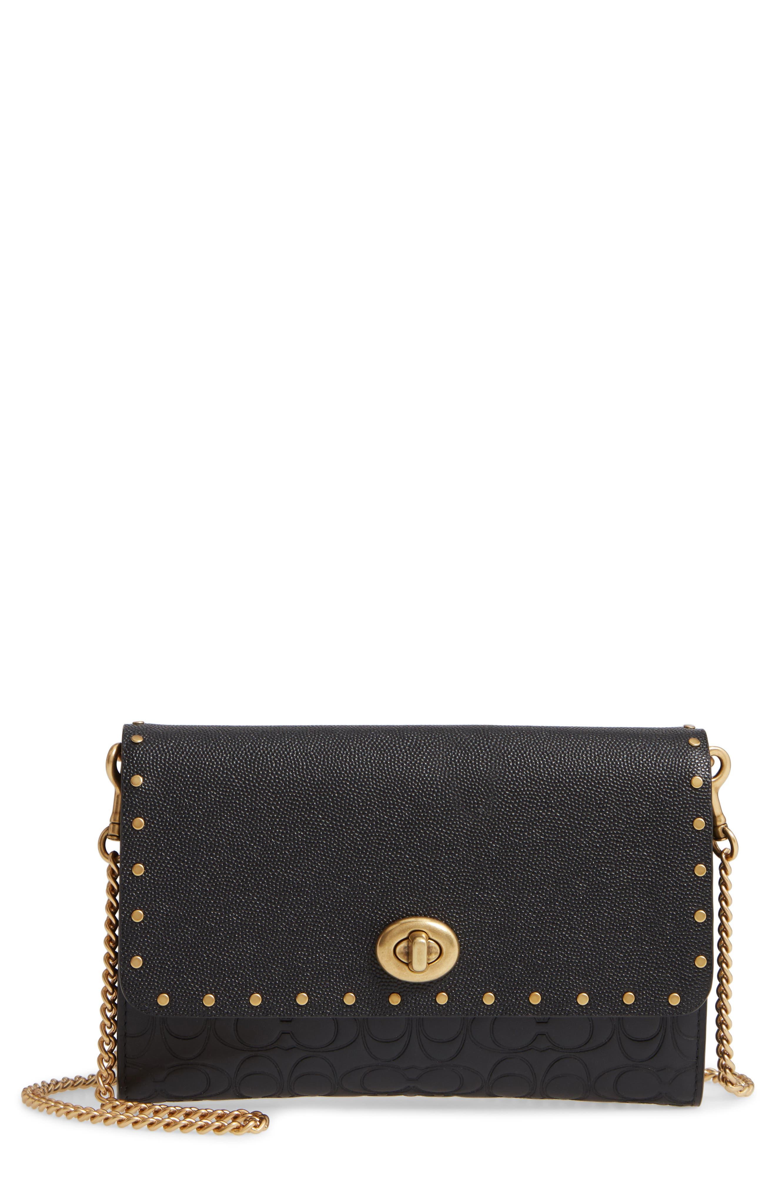 COACH, Marlow Rivets Leather Crossbody Bag, Main thumbnail 1, color, BLACK