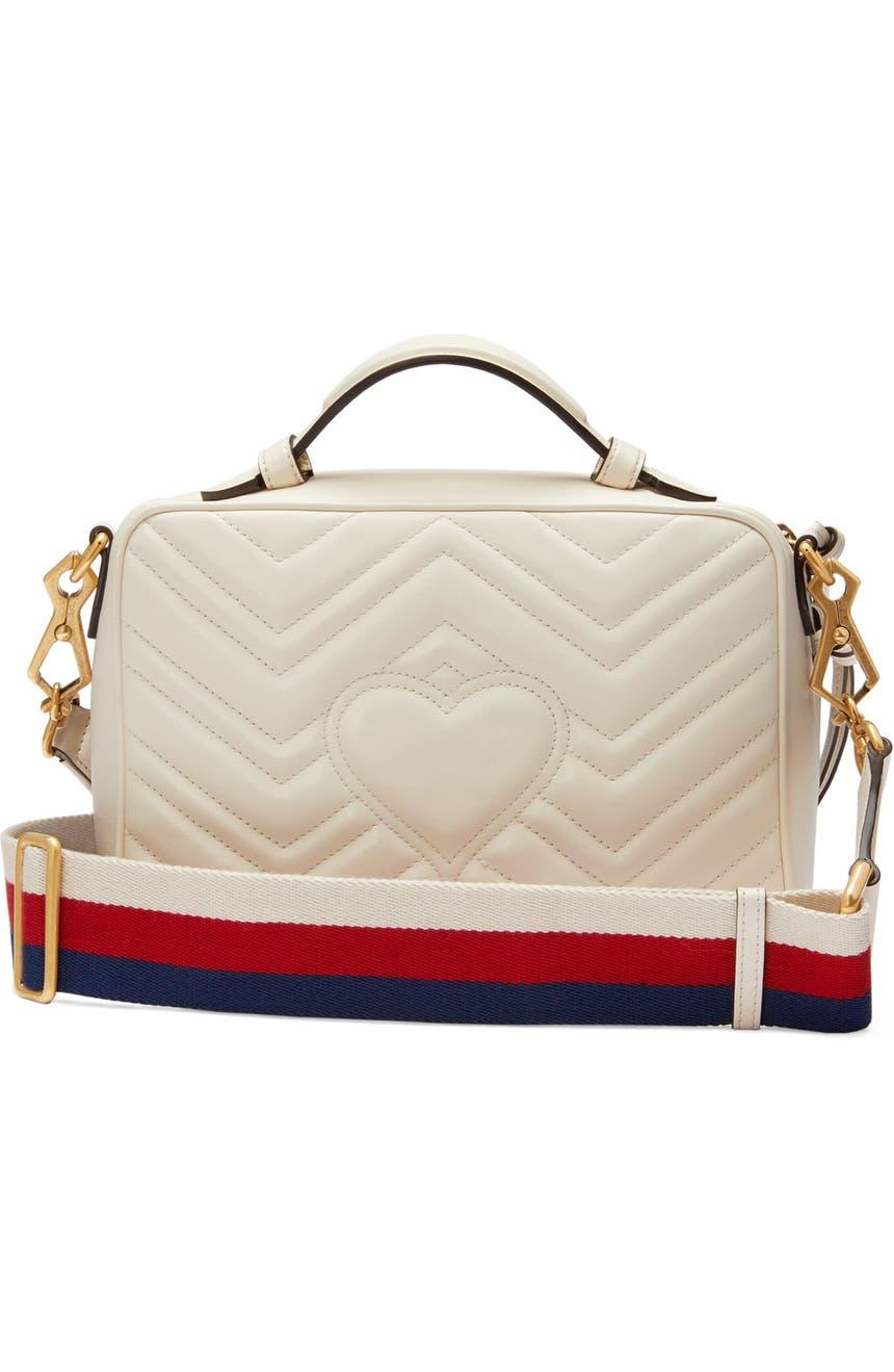 0cb173e303eb Gucci Small GG Marmont 2.0 Matelassé Leather Camera Bag with Webbed Strap