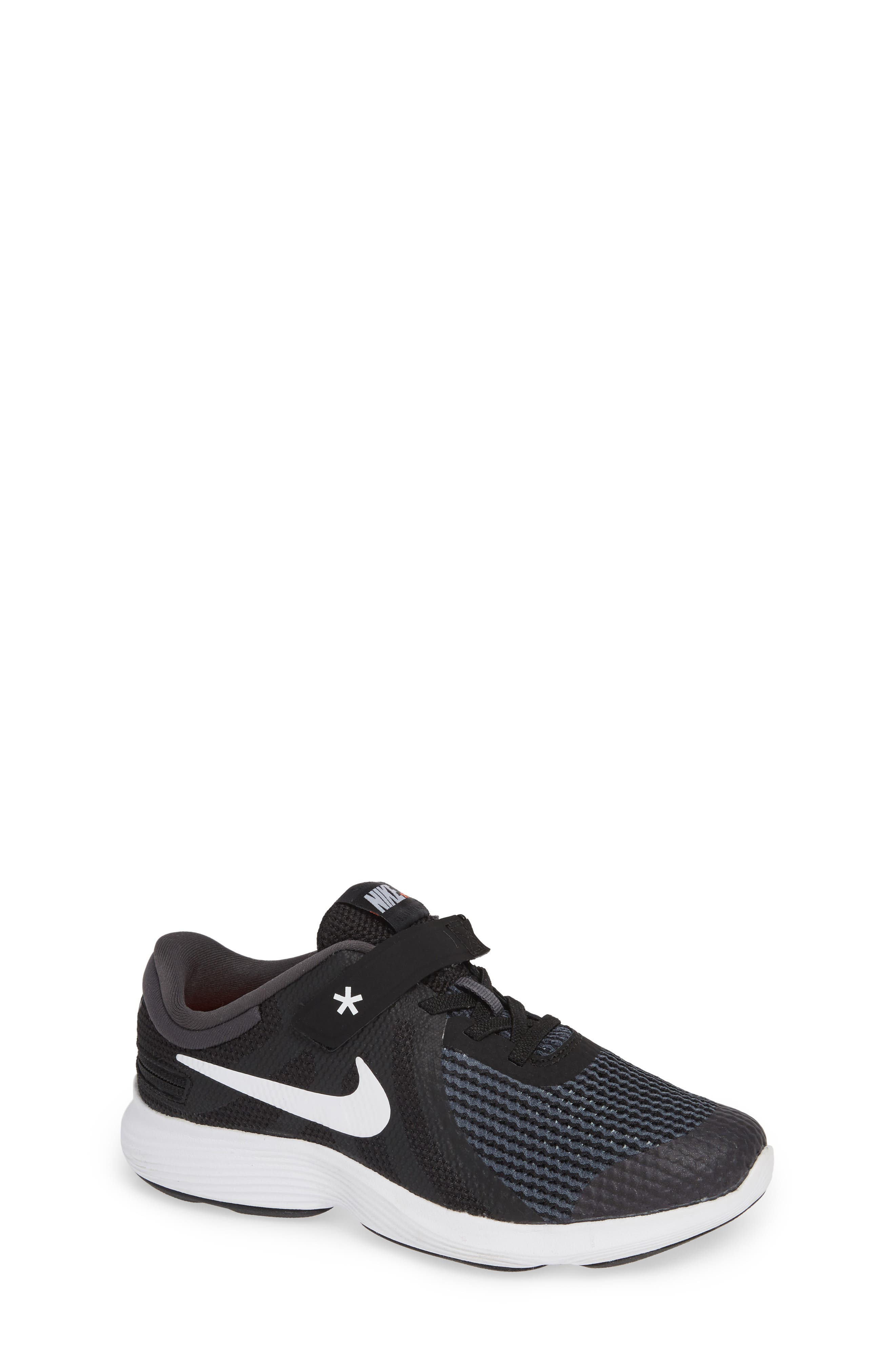 NIKE, Revolution 4 Flyease 4E Sneaker, Main thumbnail 1, color, BLACK ANTHRACITE CRIMSON