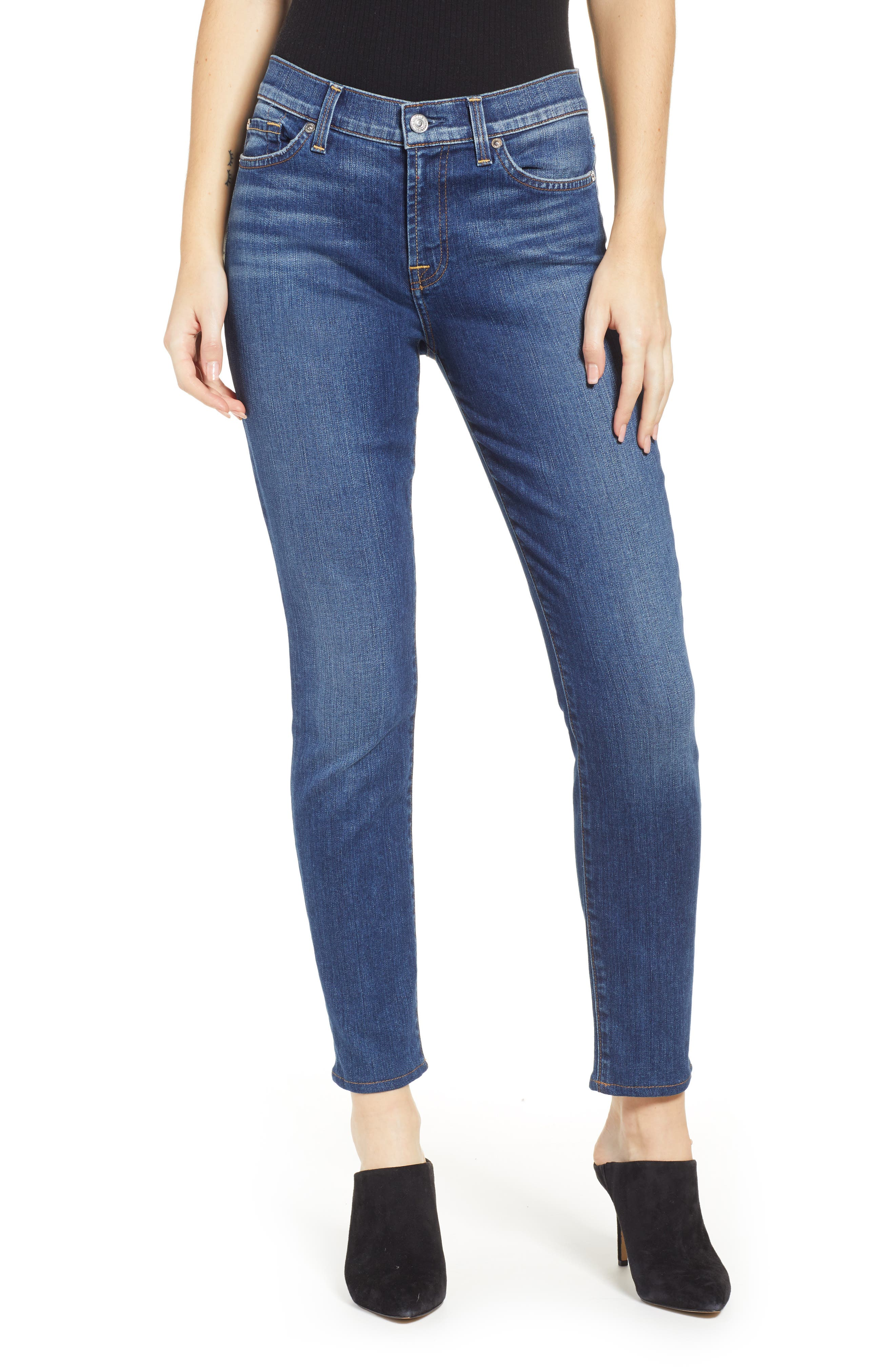 7 FOR ALL MANKIND<SUP>®</SUP>, The Ankle Skinny Jeans, Main thumbnail 1, color, ALLURING INDIGO