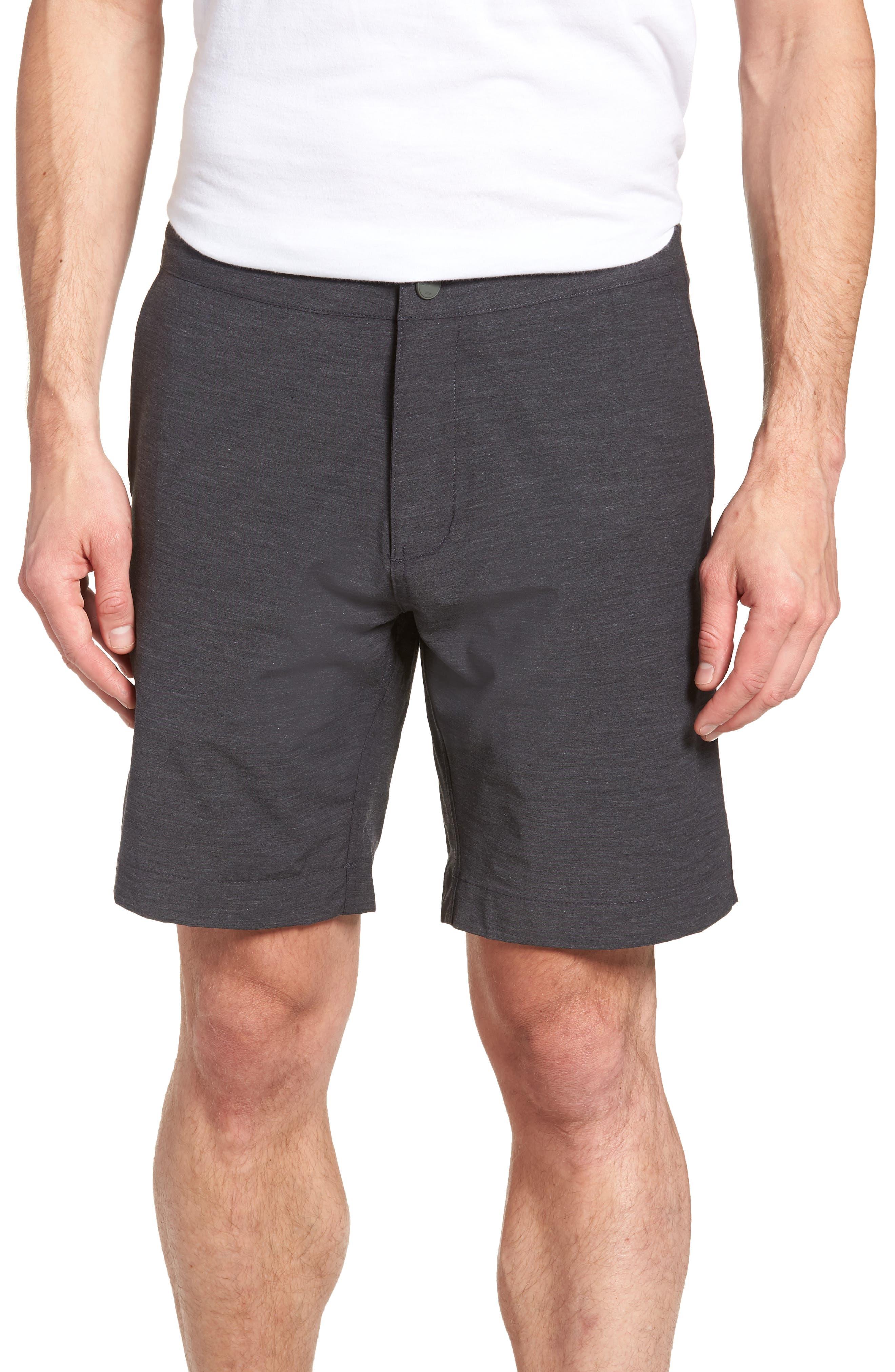 FAHERTY, All Day Flat Front Shorts, Main thumbnail 1, color, CHARCOAL