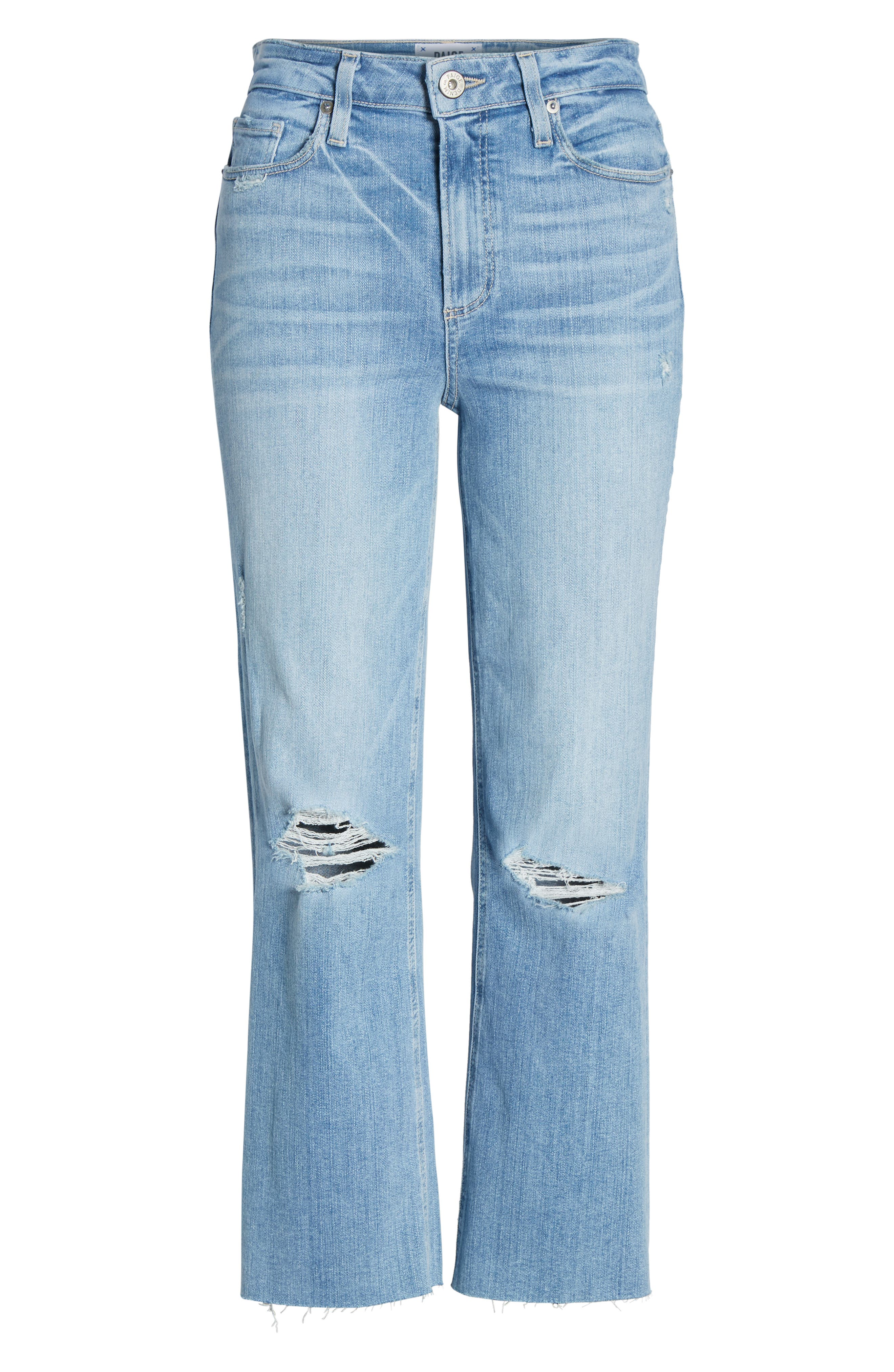 PAIGE, Atley Ripped Raw Hem Ankle Flare Jeans, Alternate thumbnail 7, color, FLORETTA DESTRUCTED