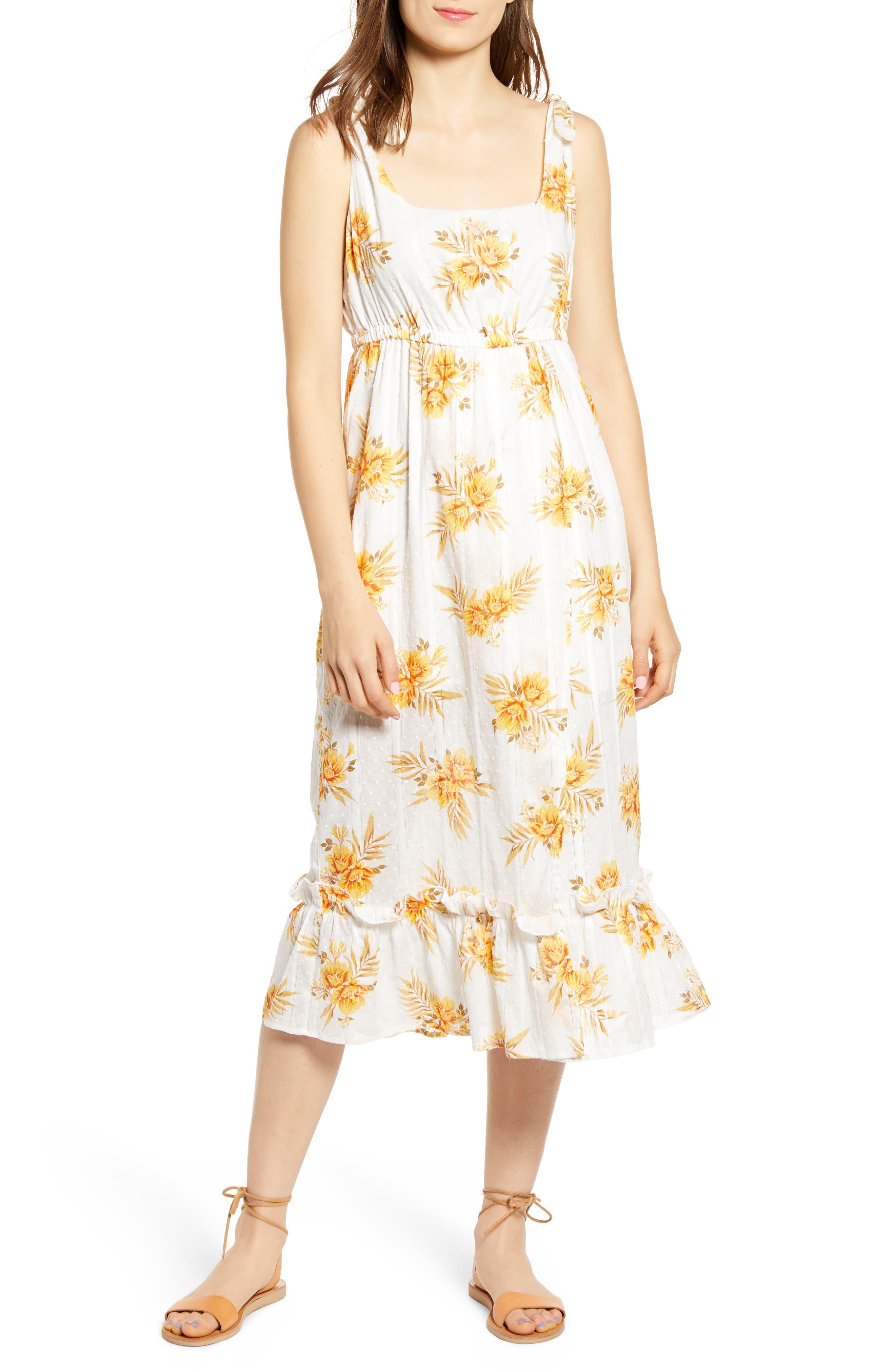 Minkpink Arcadia Floral Print Midi Dress, Ivory
