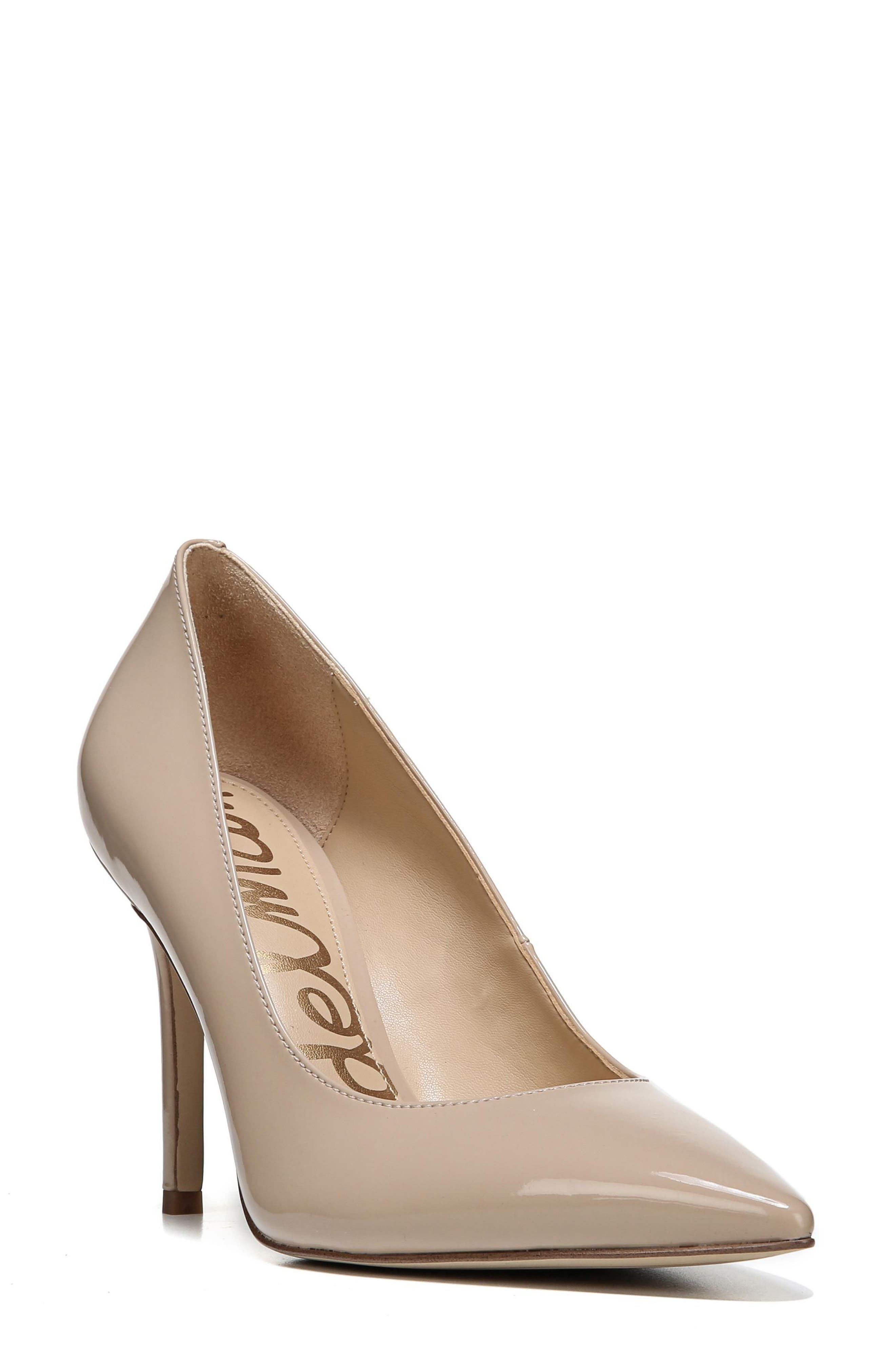 SAM EDELMAN, Hazel Pointy Toe Pump, Main thumbnail 1, color, NUDE LINEN PATENT LEATHER