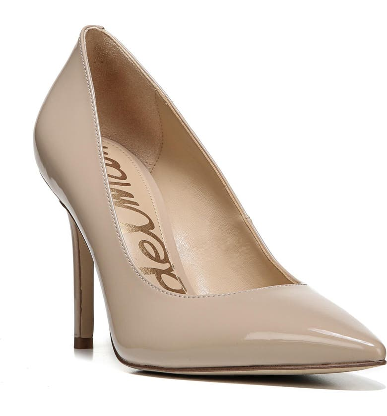 aef8611fc Sam Edelman Women s Hazel Pointed Toe Patent Leather High-Heel Pumps In  Nude Linen Patent
