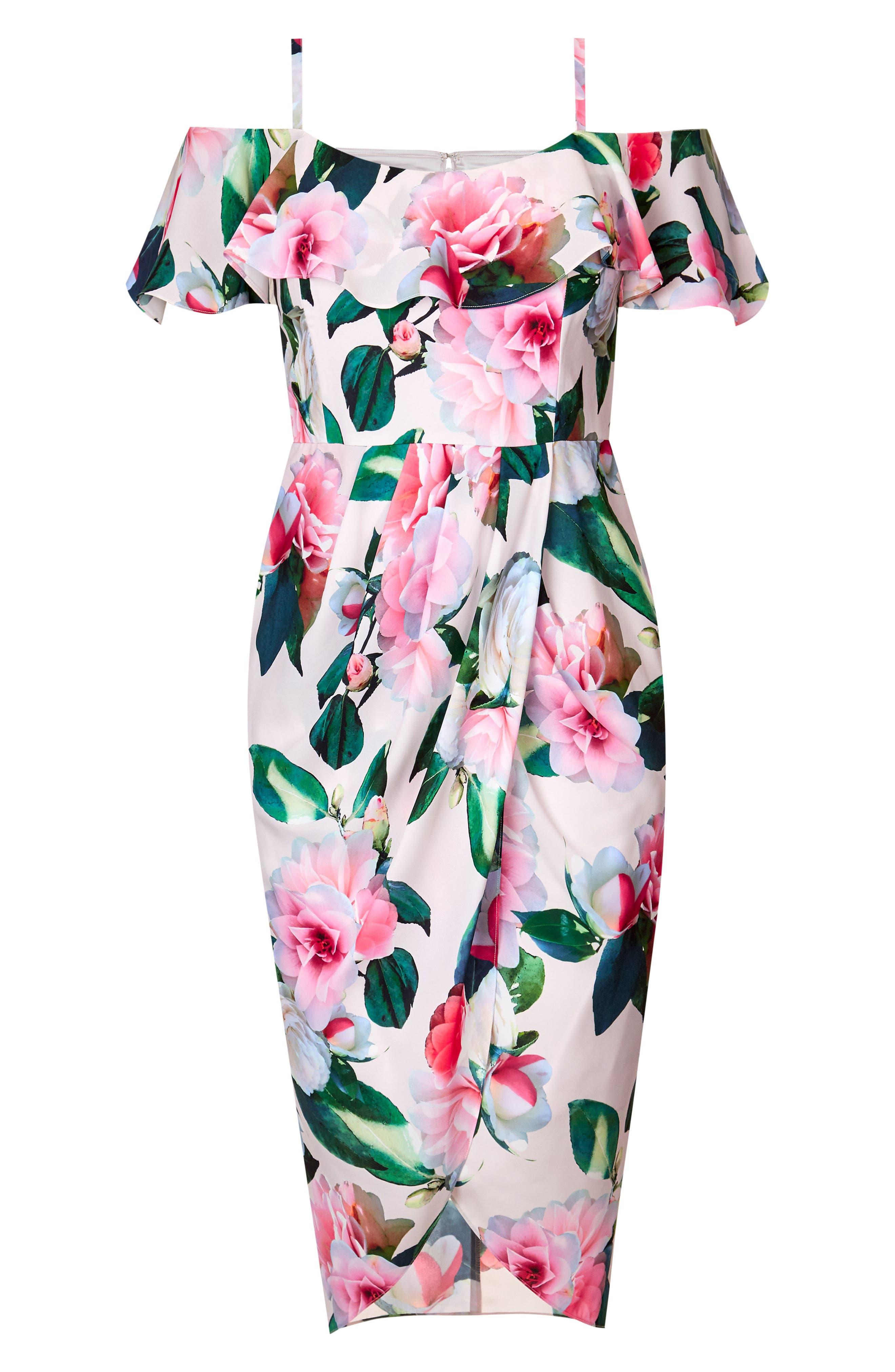 CITY CHIC, Love Me Do Floral Cold Shoulder Dress, Alternate thumbnail 3, color, PINK GARDEN