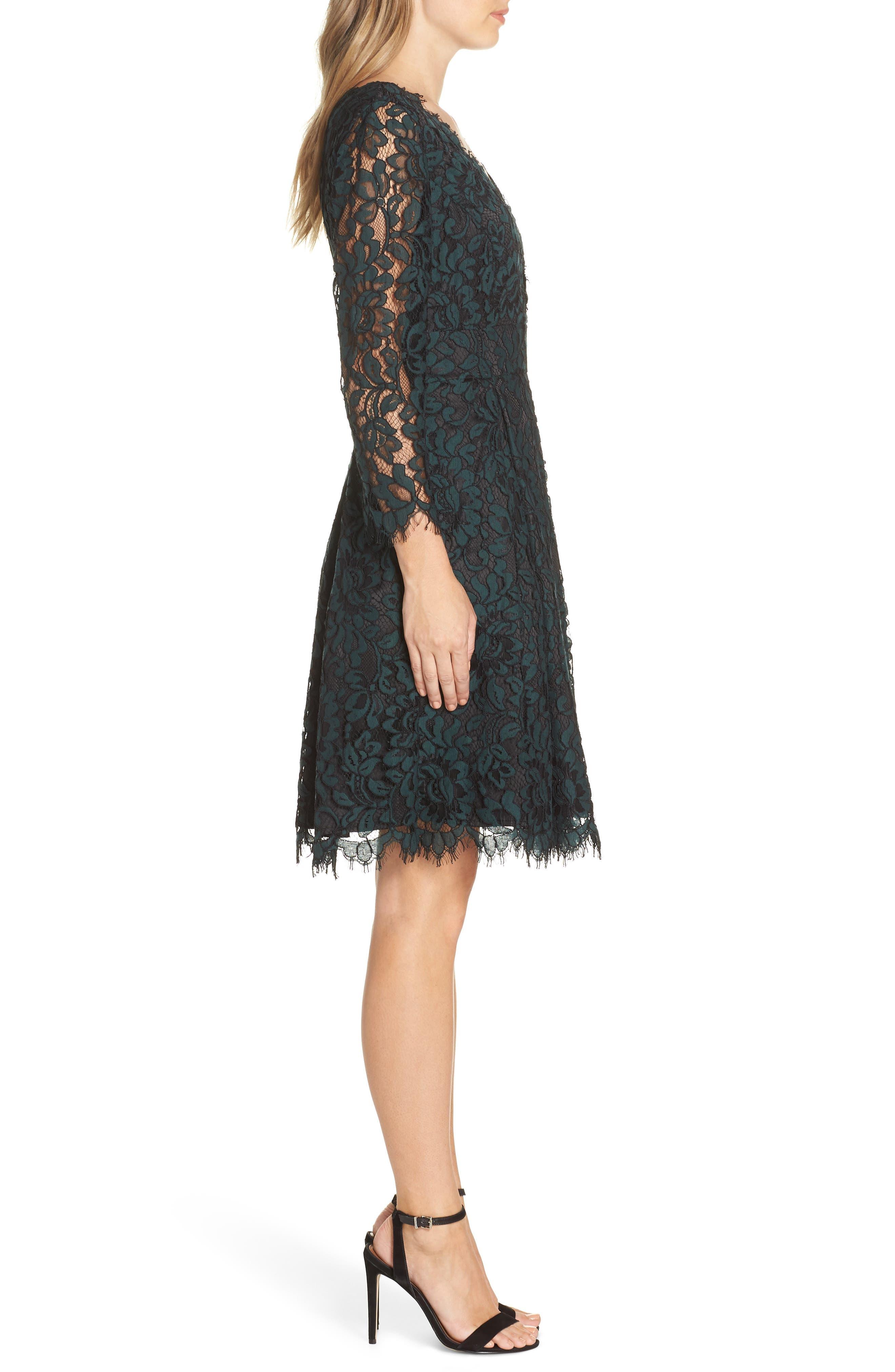 ELIZA J, Lace V-Neck Fit & Flare Dress, Alternate thumbnail 4, color, 310