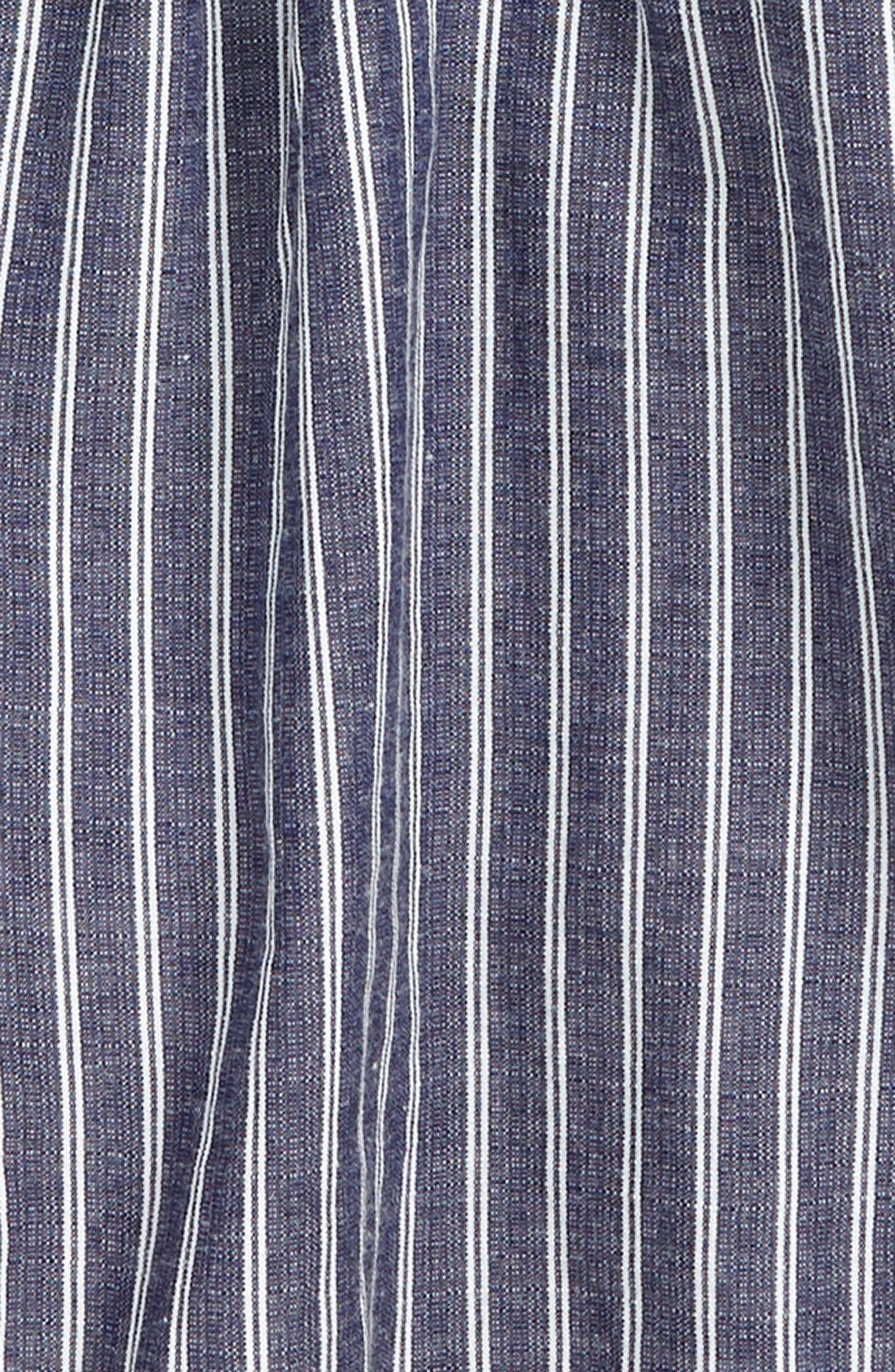 TRULY ME, Stripe Ruffle Romper, Alternate thumbnail 2, color, BLUE