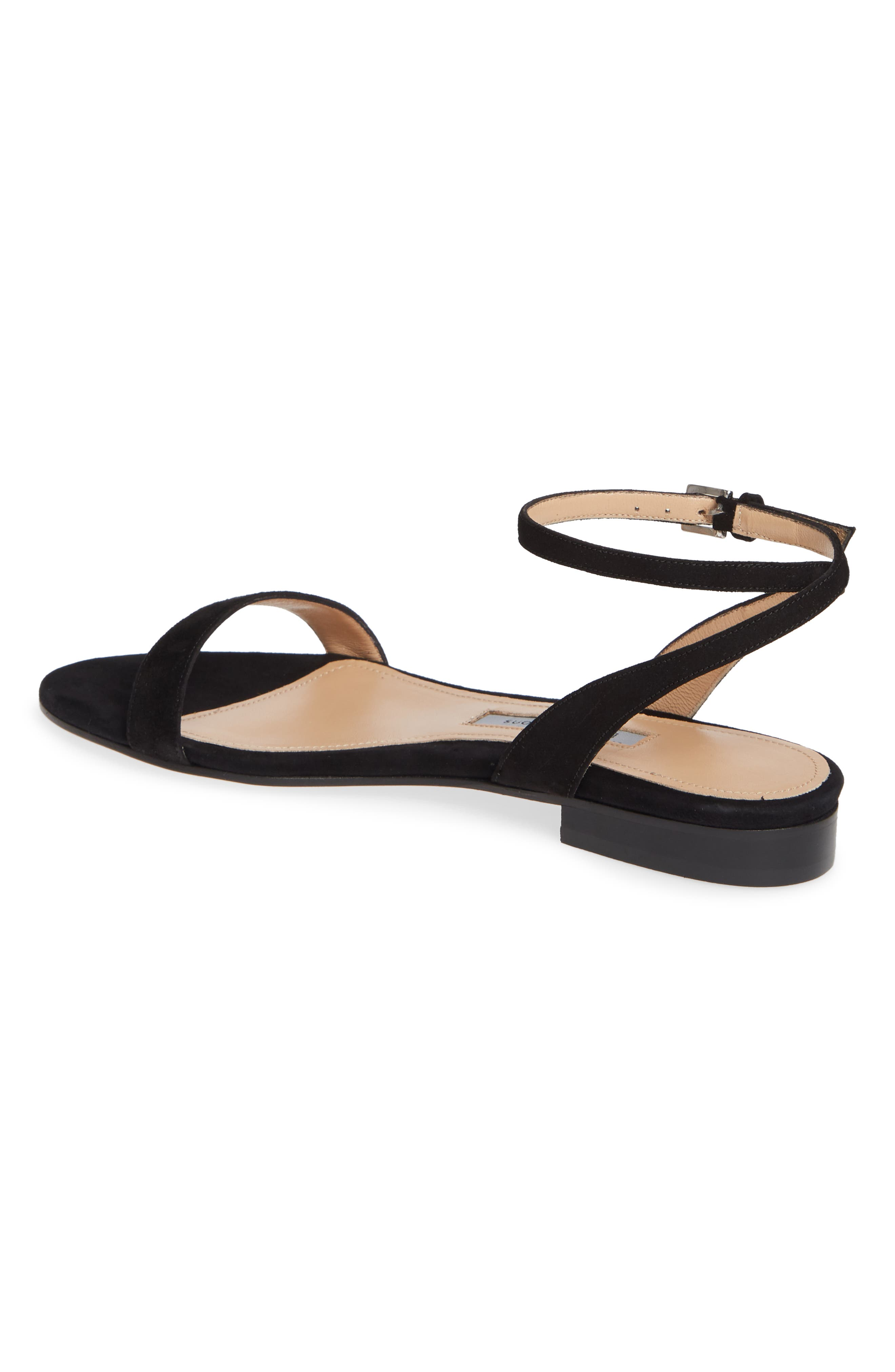 EMME PARSONS, One Ankle Strap Flat Sandal, Alternate thumbnail 2, color, BLACK