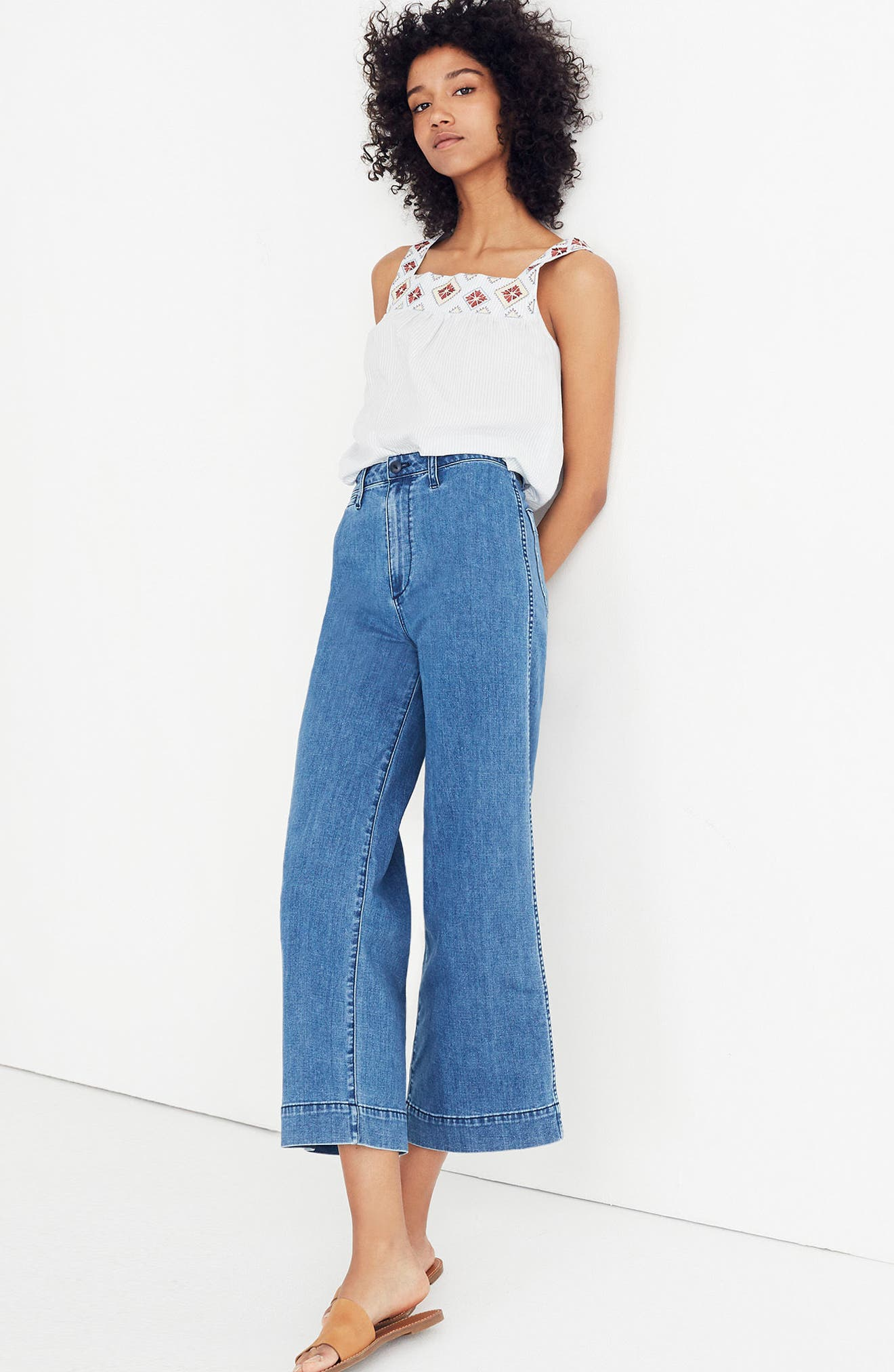 MADEWELL, Emmett Crop Wide Leg Jeans, Alternate thumbnail 5, color, ROSALIE