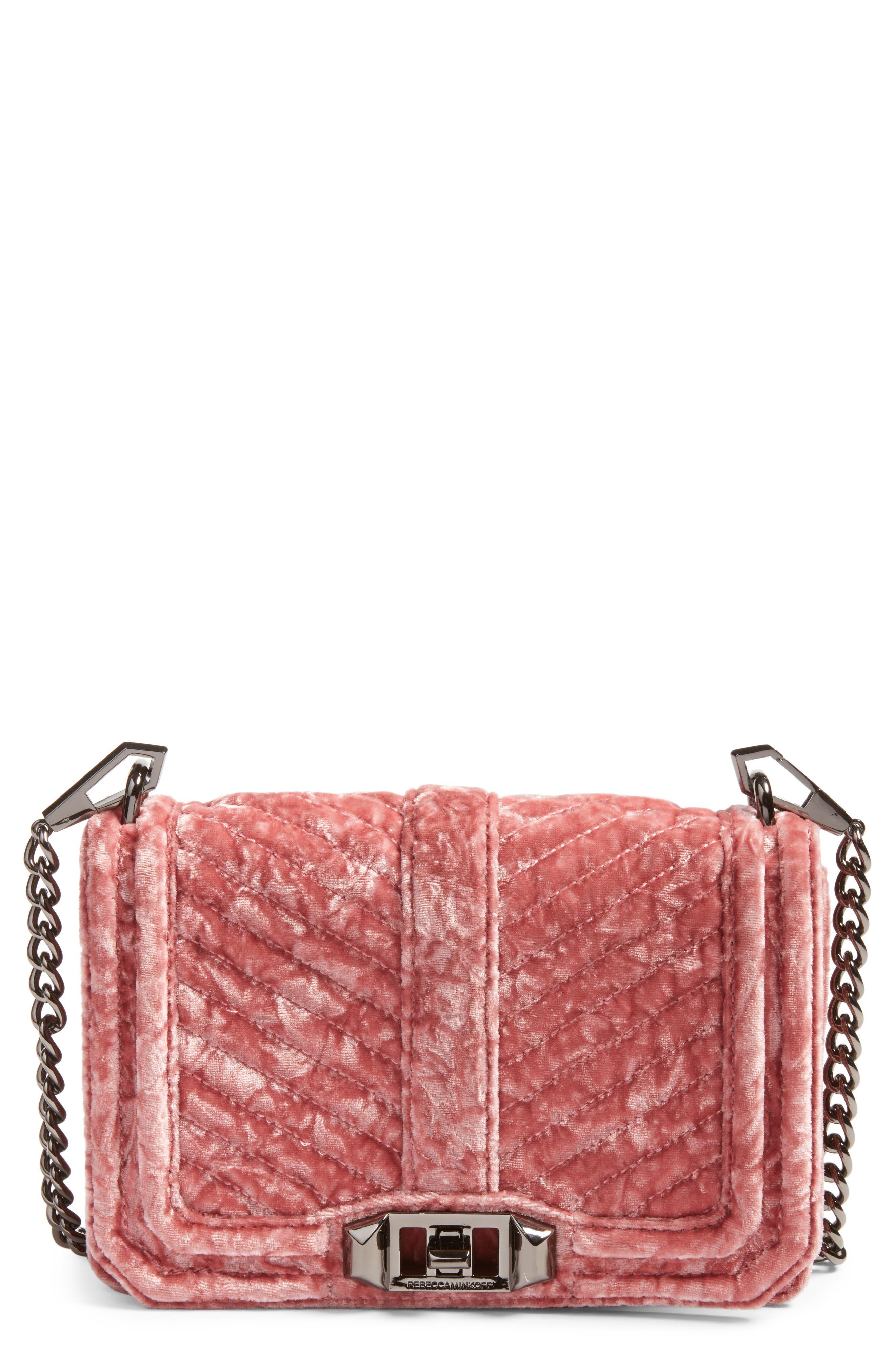 REBECCA MINKOFF, Small Love Velvet Crossbody Bag, Main thumbnail 1, color, 680