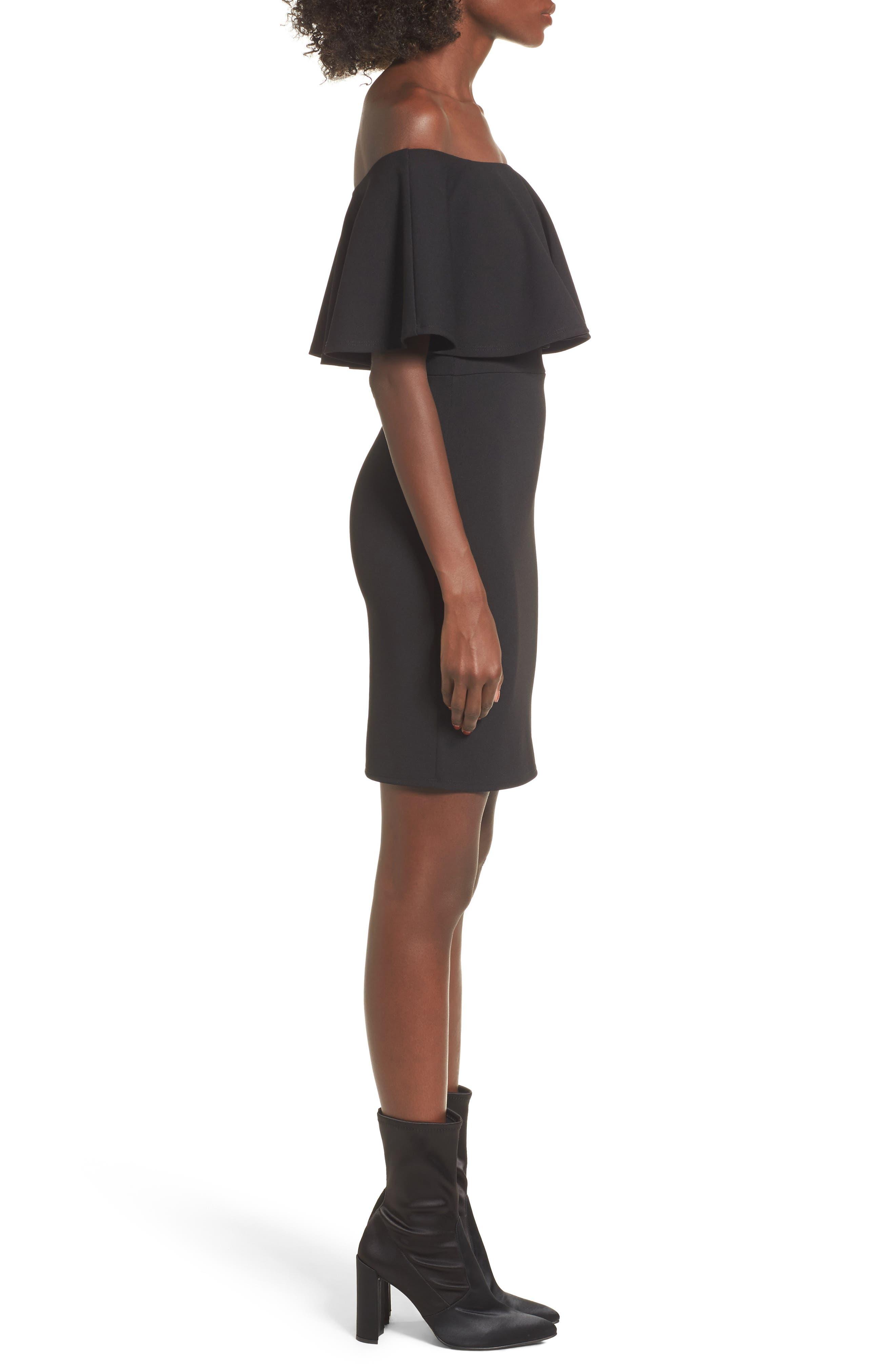 SOPRANO, Ruffle Off the Shoulder Body-Con Dress, Alternate thumbnail 4, color, 001