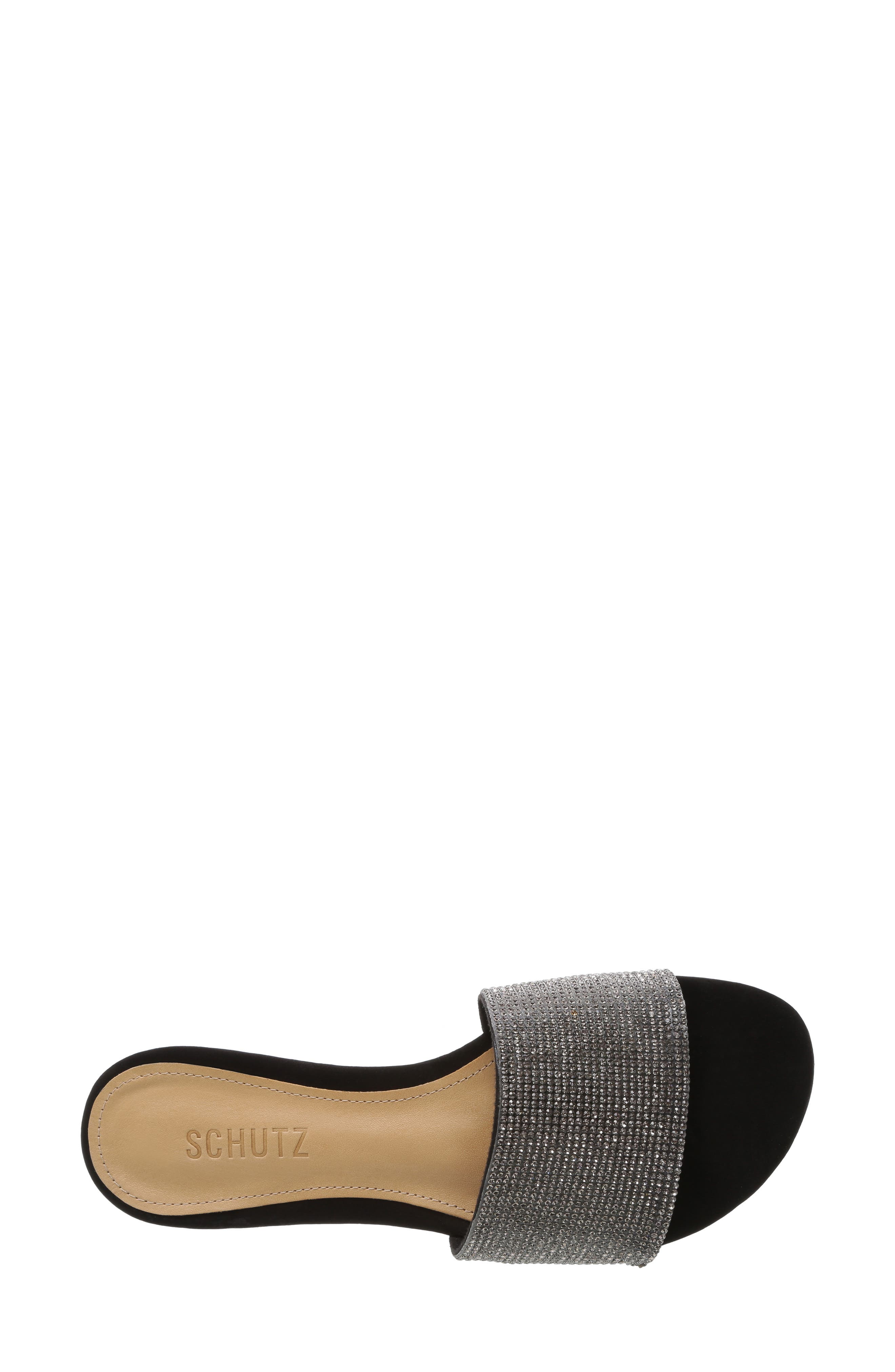 SCHUTZ, Queren Embellished Slide Sandal, Alternate thumbnail 4, color, BLACK/ BLACK DIAMOND FABRIC