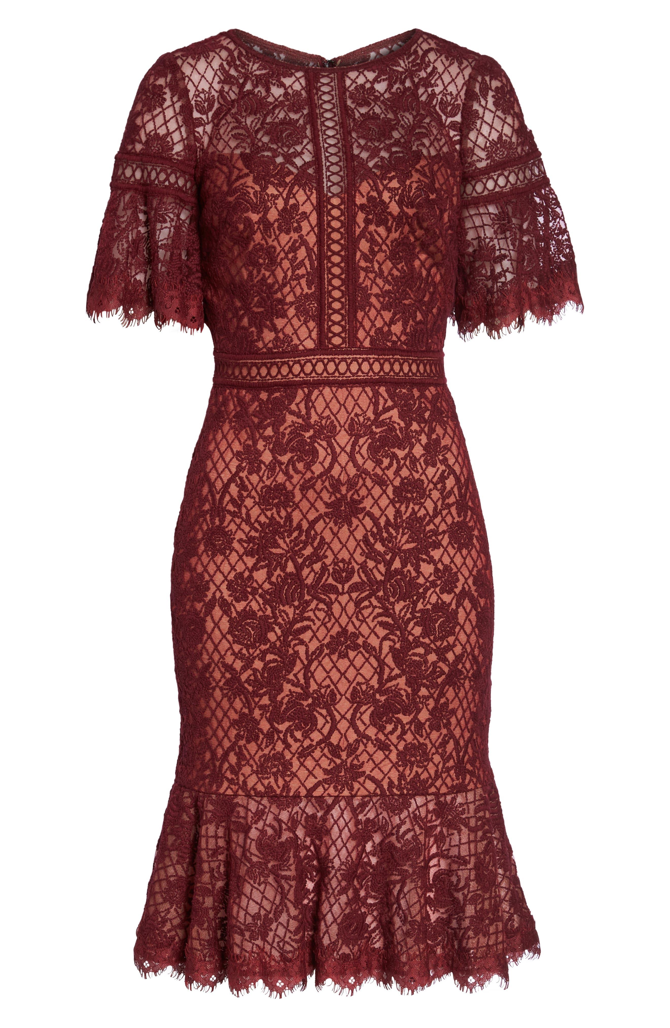 TADASHI SHOJI, Embroidered Mesh Dress, Alternate thumbnail 7, color, 603