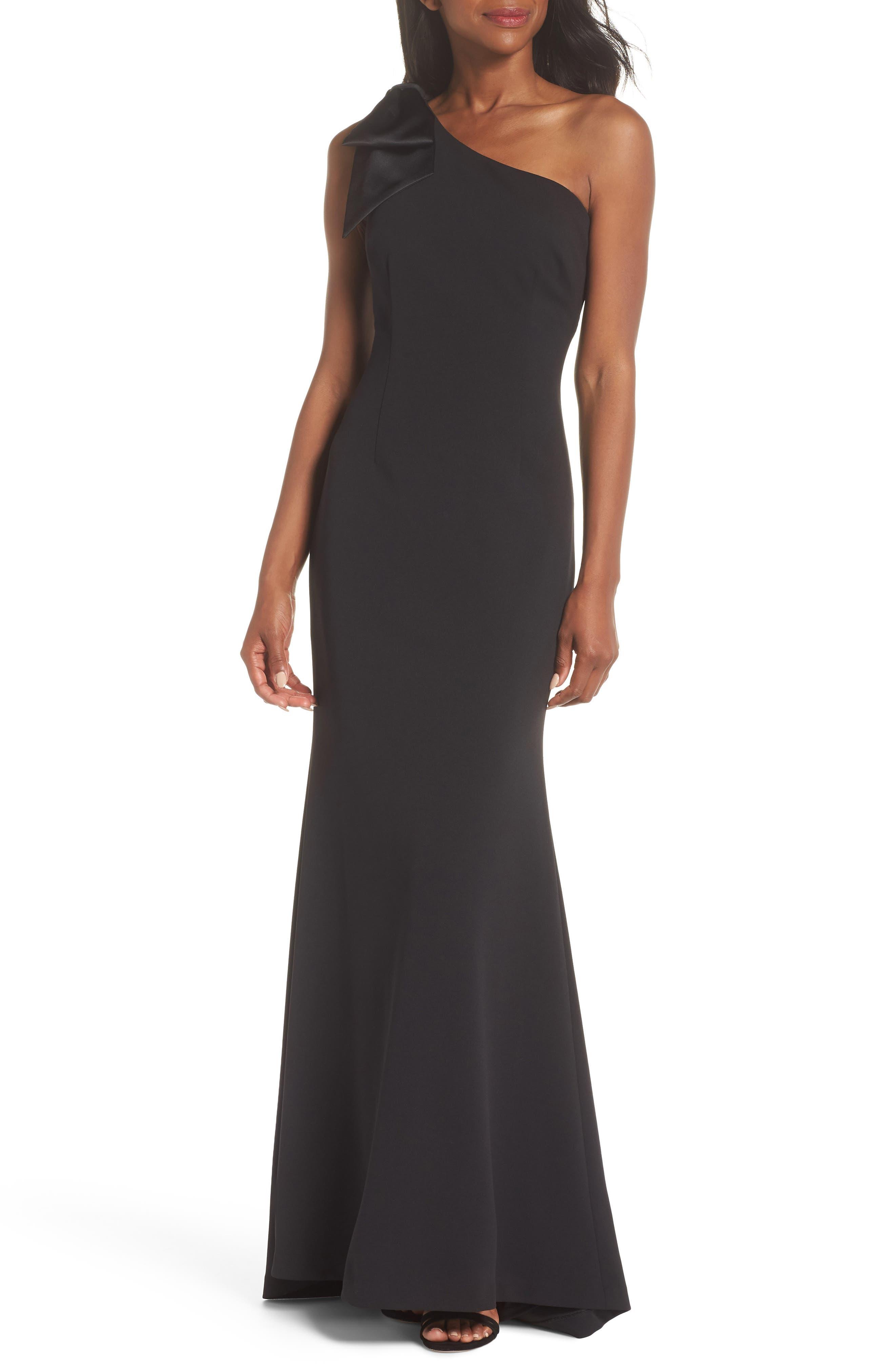 Eliza J One-Shoulder A-Line Gown, Black