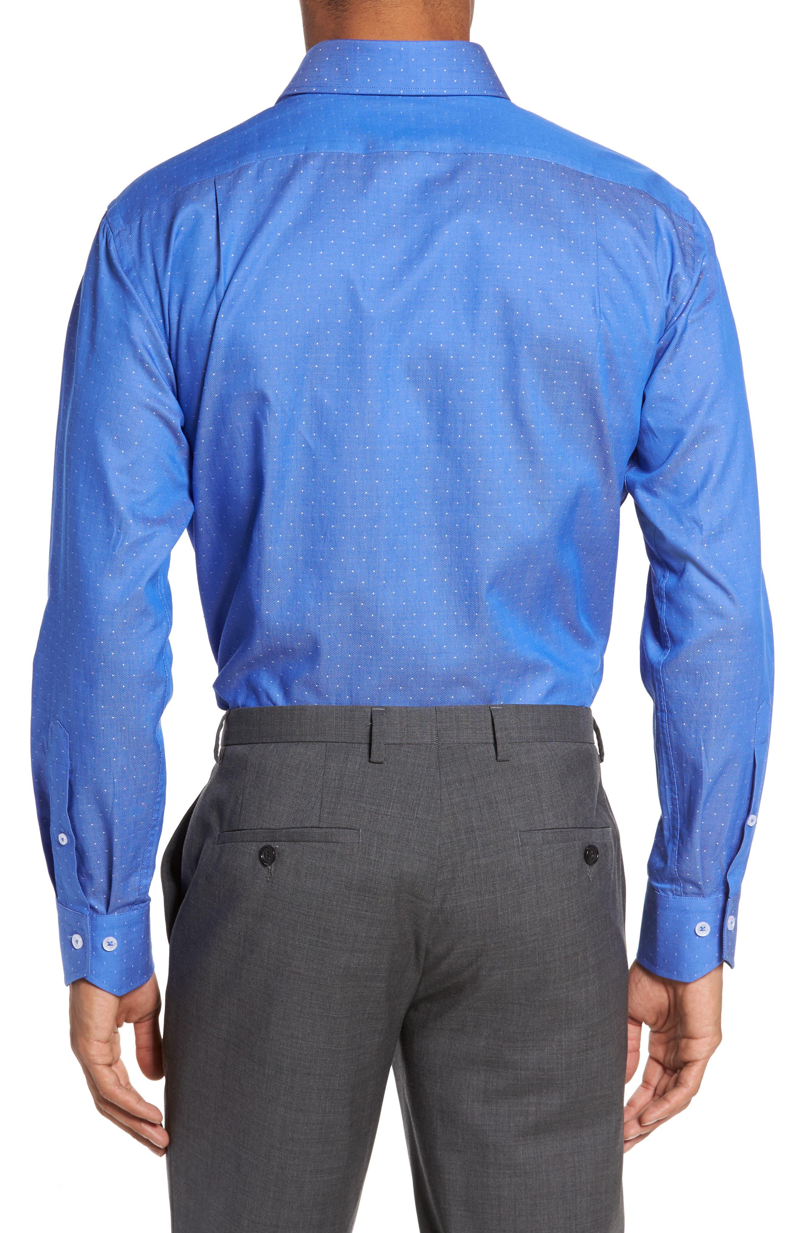 LORENZO UOMO, Trim Fit Dot Dress Shirt, Alternate thumbnail 2, color, ROYAL
