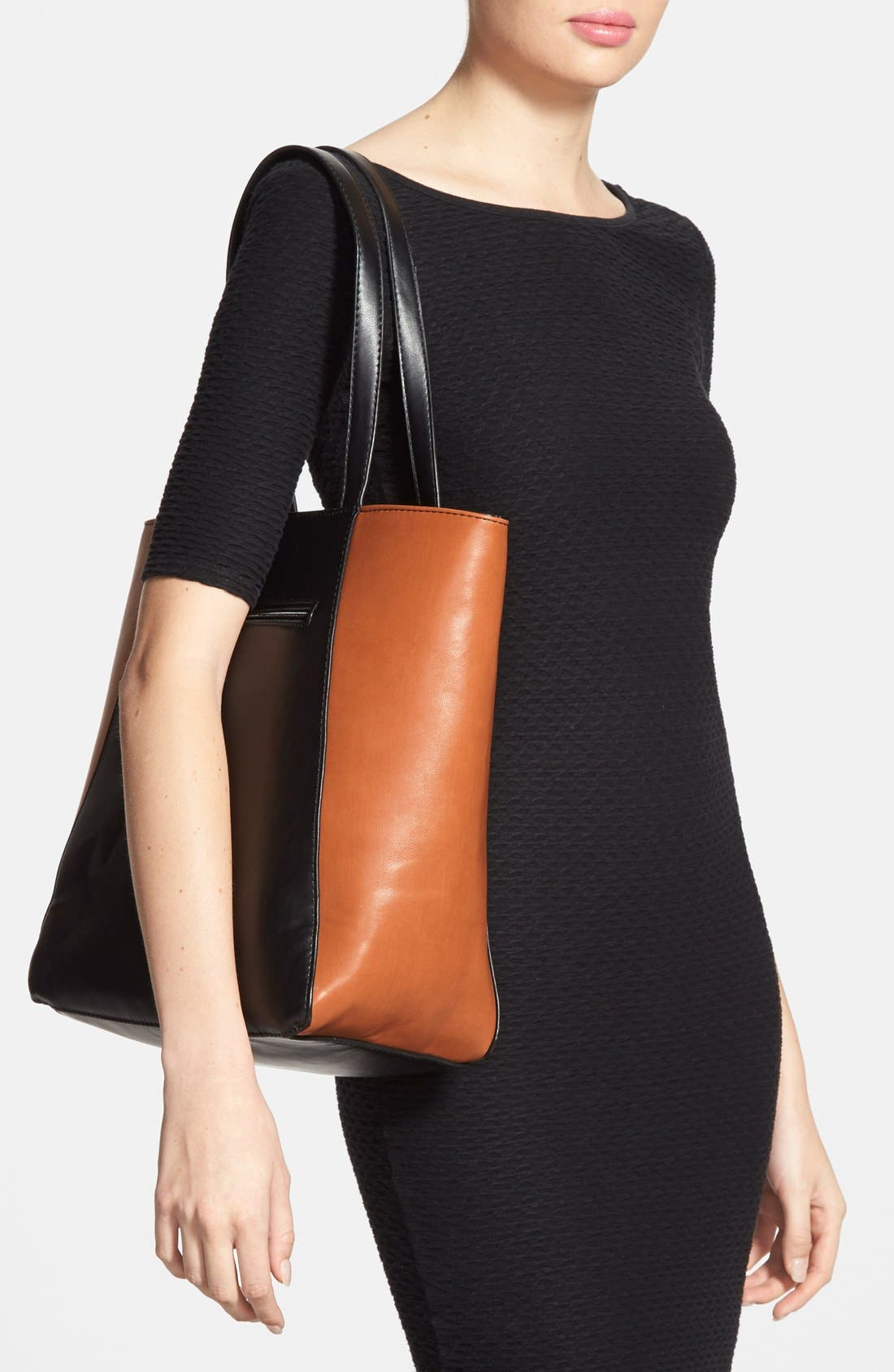 SOLE SOCIETY, Faux Leather Tote, Alternate thumbnail 4, color, 001