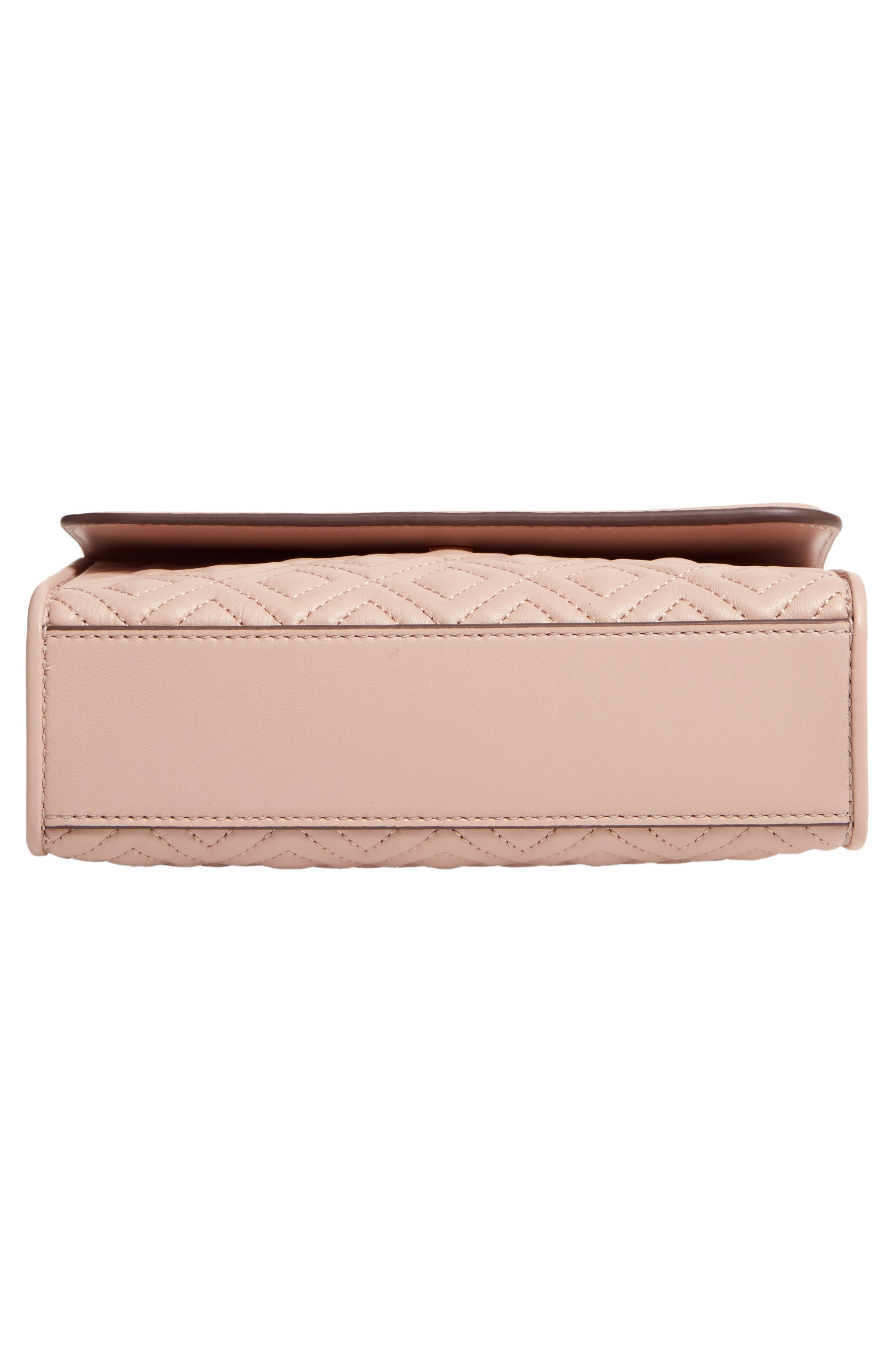 TORY BURCH, Small Fleming Leather Convertible Shoulder Bag, Alternate thumbnail 7, color, LIGHT TAUPE