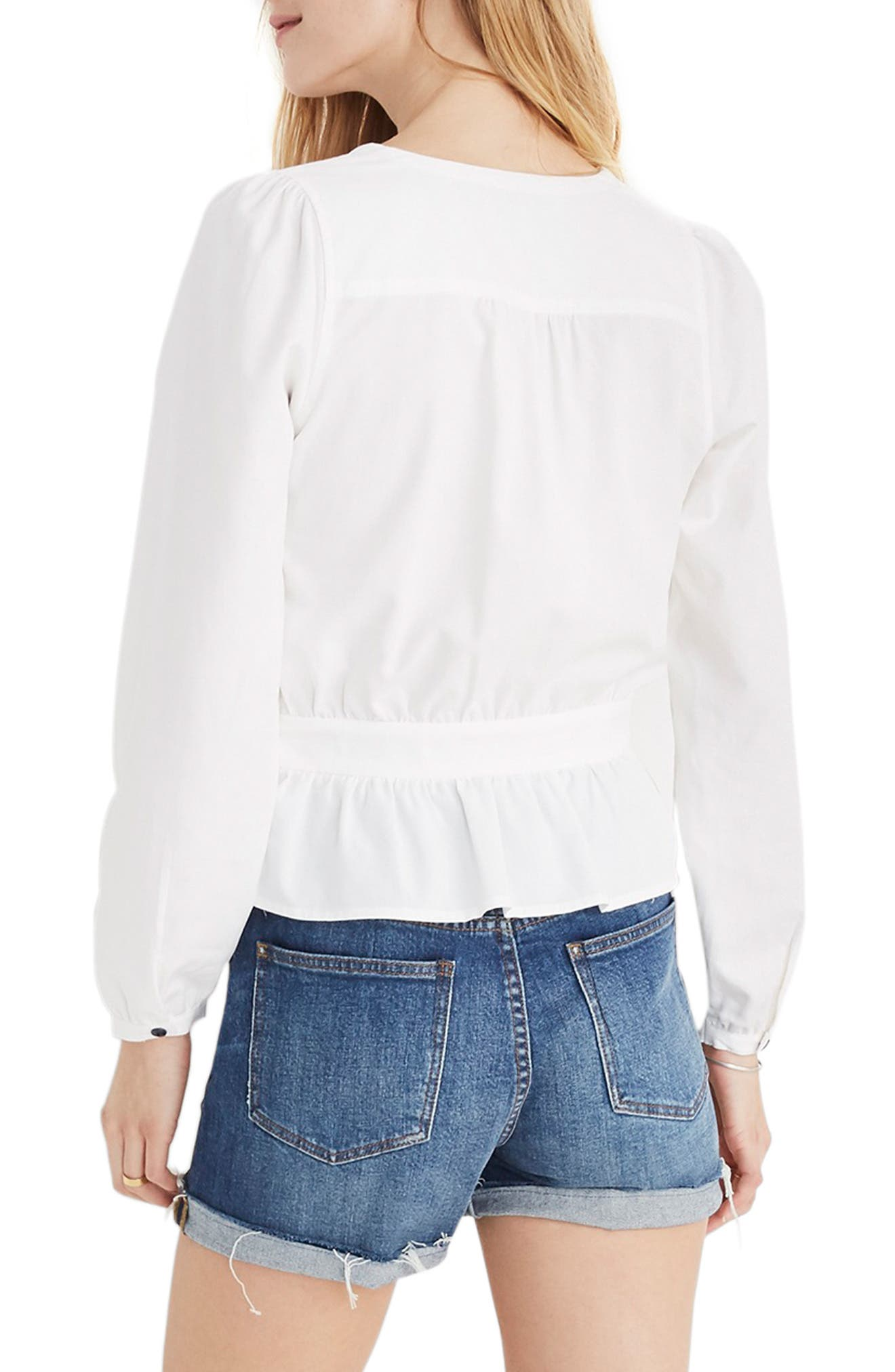MADEWELL, Puff Sleeve Peplum Wrap Top, Alternate thumbnail 2, color, PURE WHITE