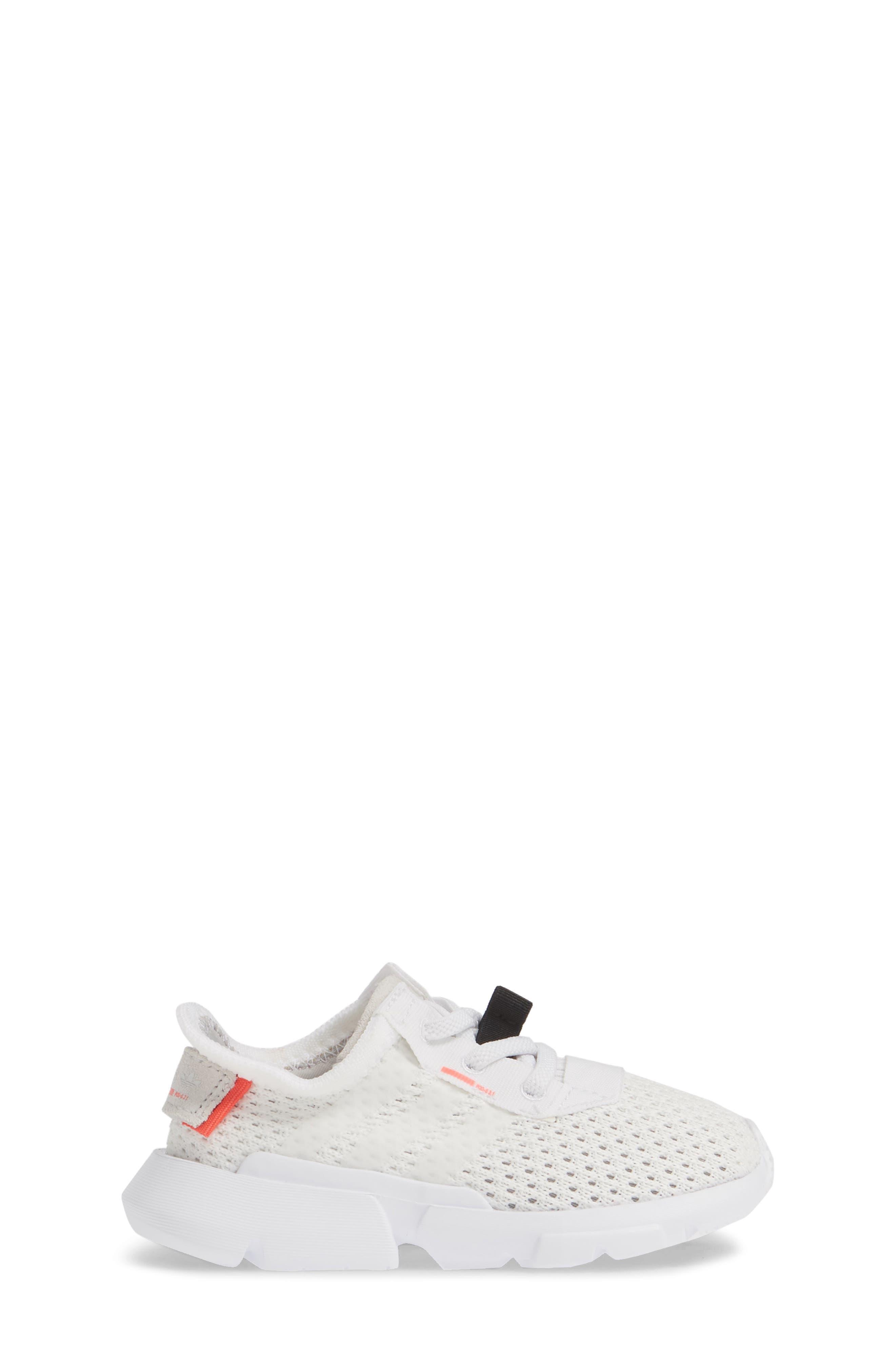 ADIDAS, POD-S3.1 Sneaker, Alternate thumbnail 3, color, WHITE/ WHITE/ SHOCK RED