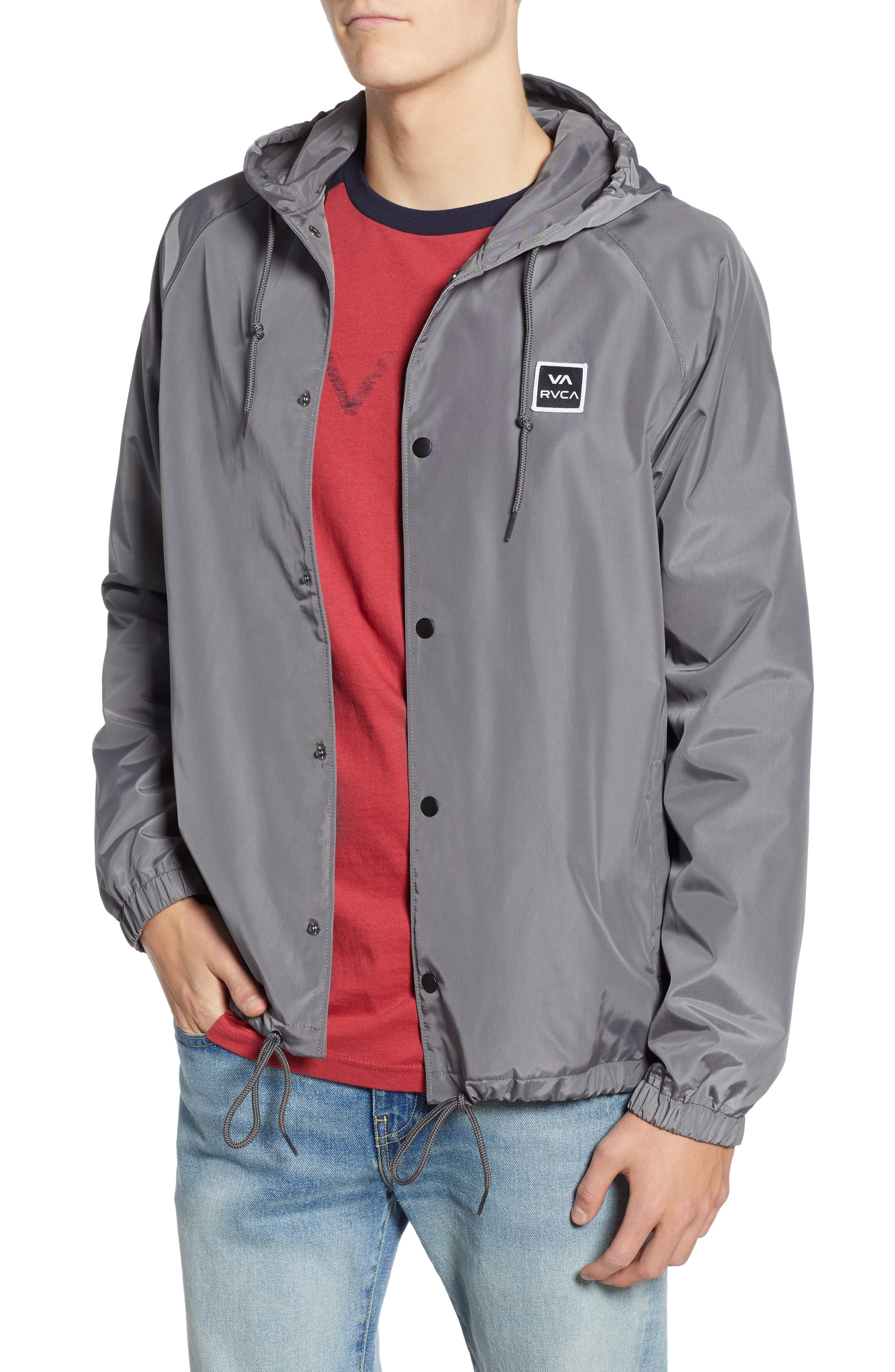 RVCA VA Hooded Coach's Jacket, Main, color, 026