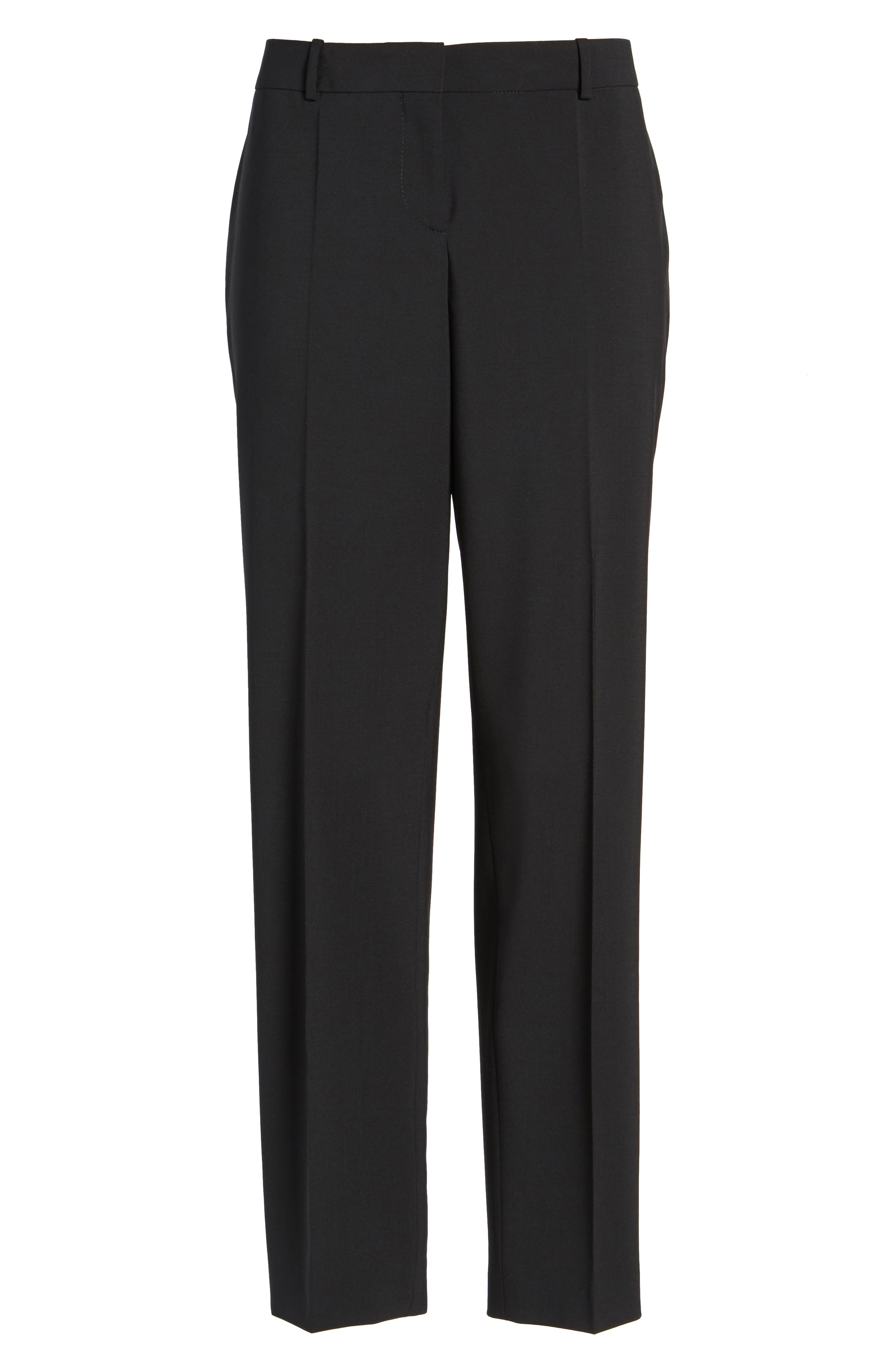 BOSS, Tiluna Tropical Stretch Wool Ankle Trousers, Main thumbnail 1, color, BLACK