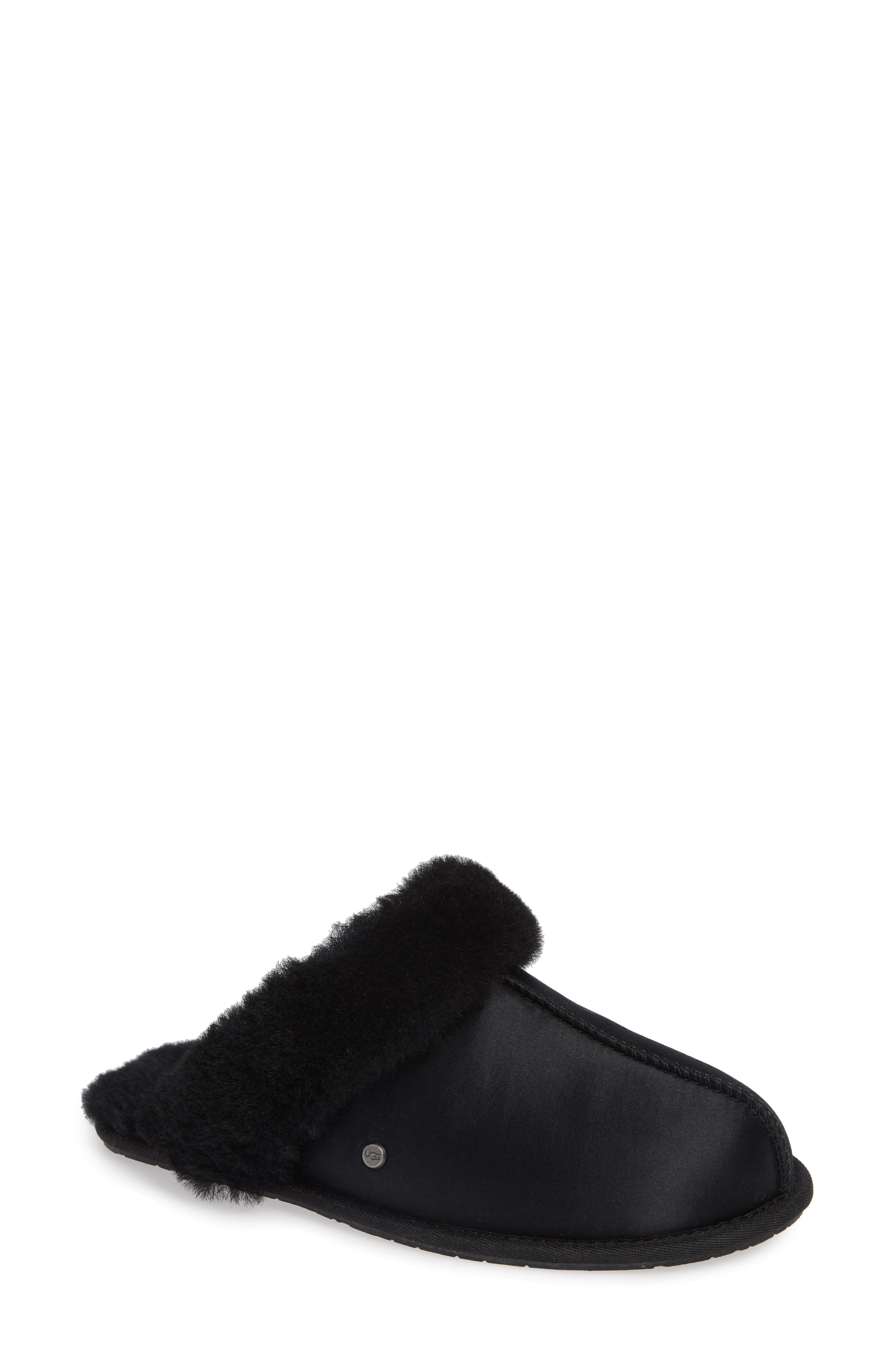 UGG<SUP>®</SUP>, Scuffette II Satin Slipper, Main thumbnail 1, color, 001