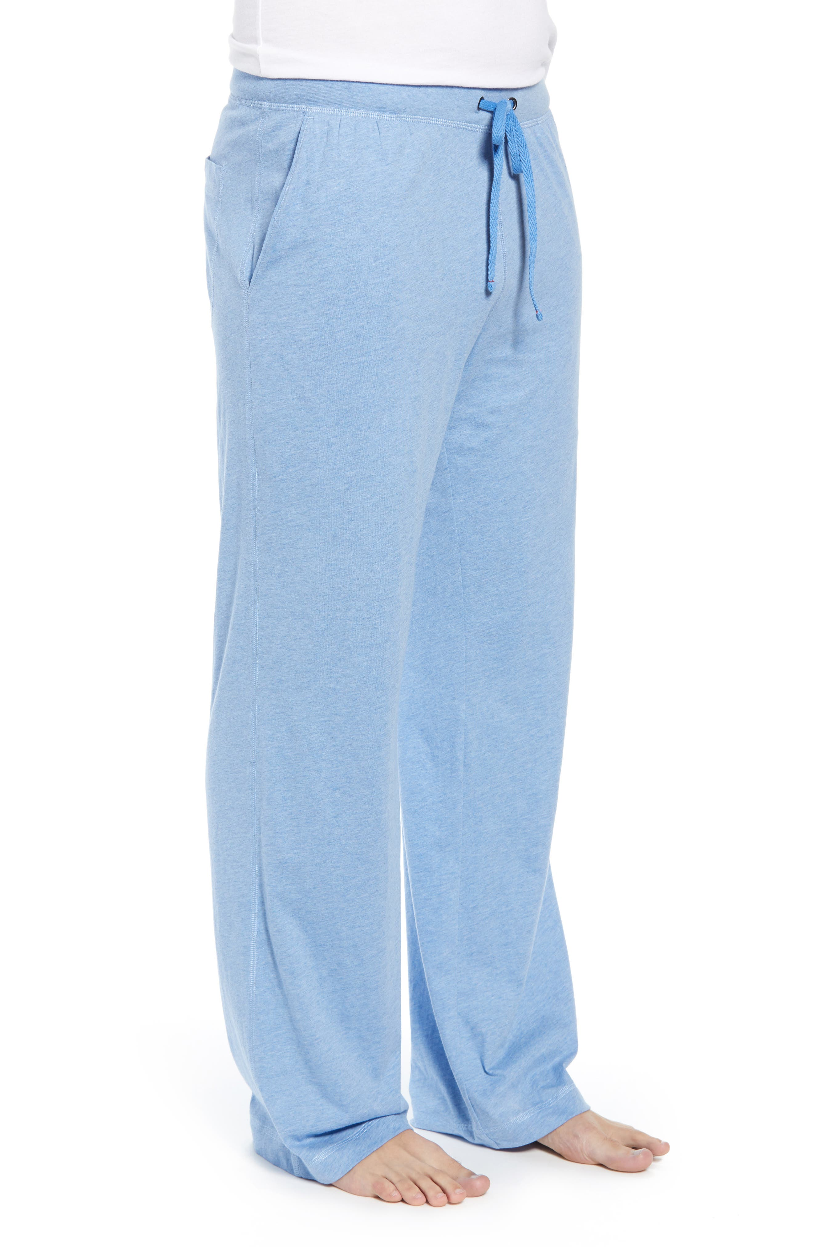 DANIEL BUCHLER, Peruvian Pima Lightweight Cotton Lounge Pants, Alternate thumbnail 3, color, BLUE HEATHER