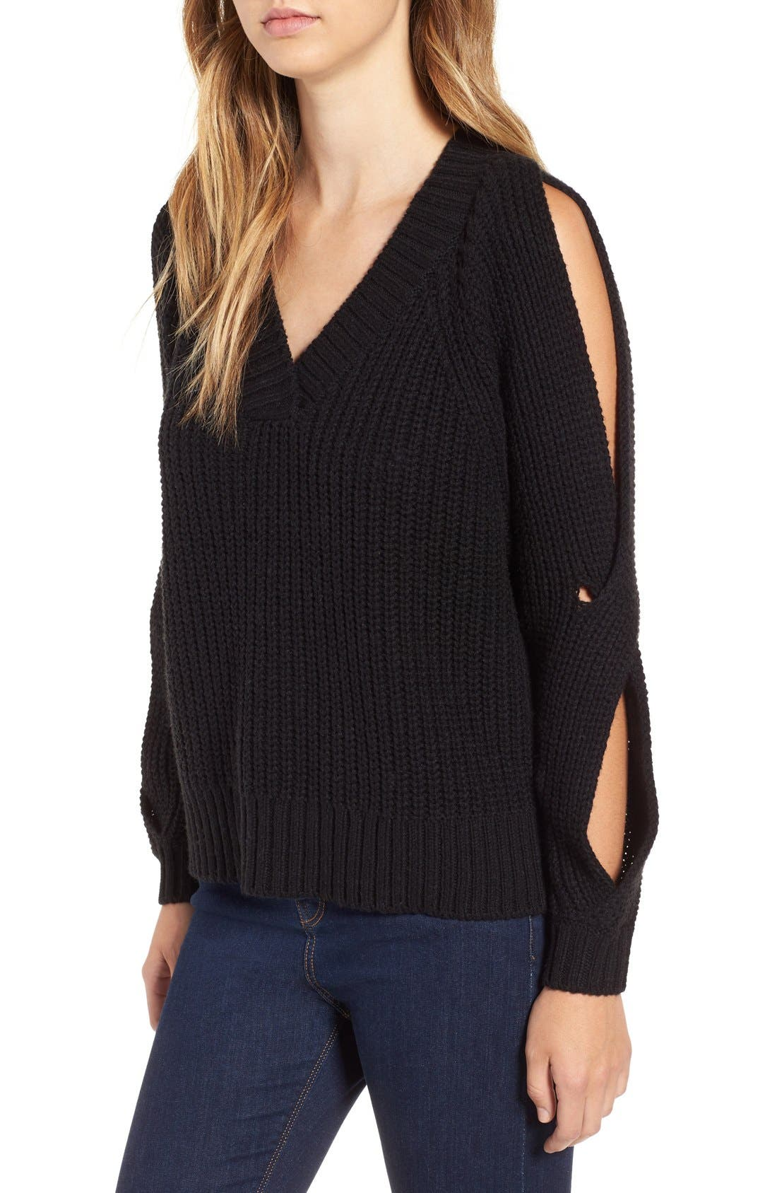 LEITH, Ribbed Cold Shoulder Sweater, Alternate thumbnail 4, color, 001