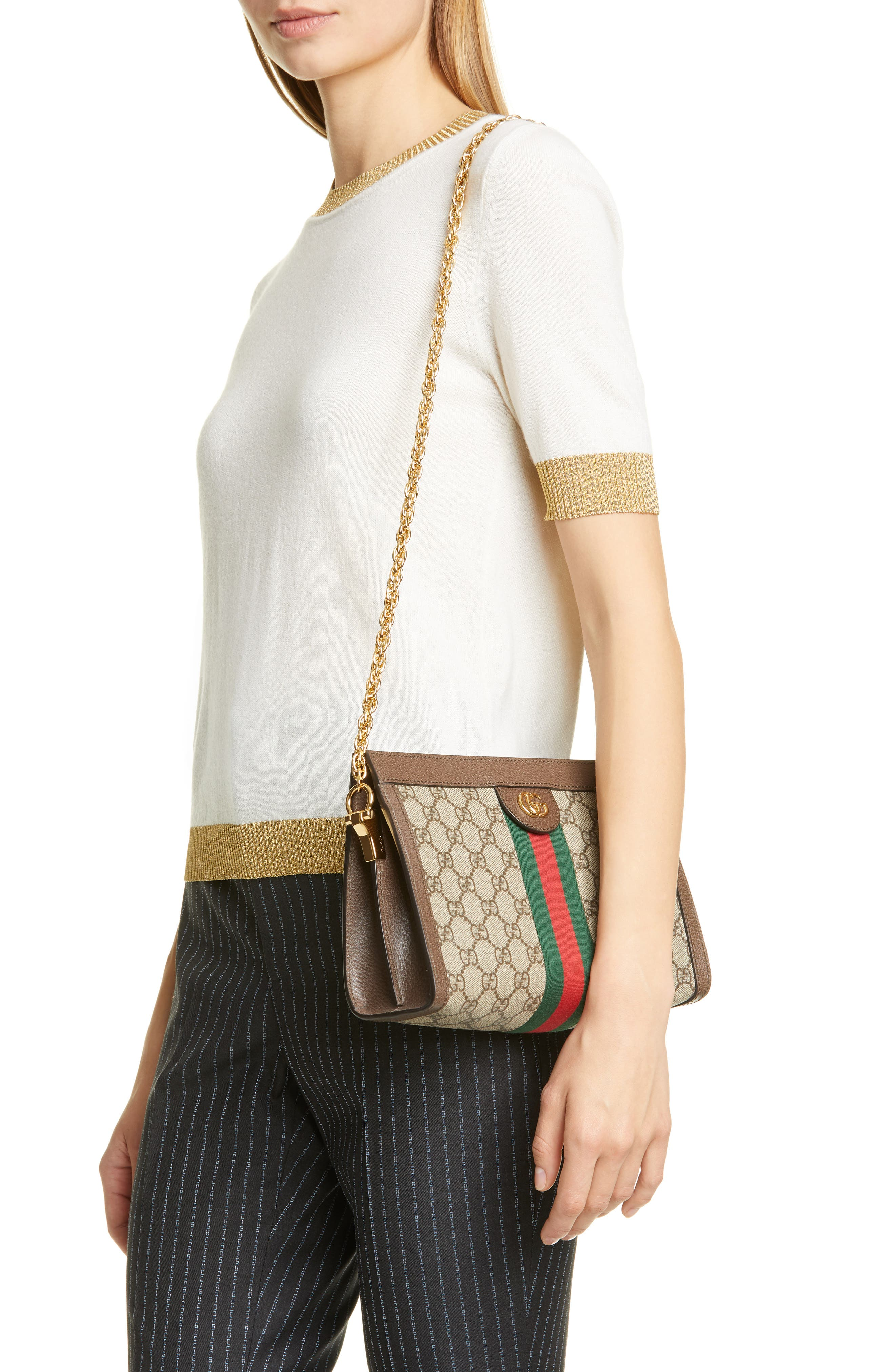 GUCCI, Small GG Supreme Shoulder Bag, Alternate thumbnail 2, color, BEIGE EBONY/ NERO/ VERT/ RED