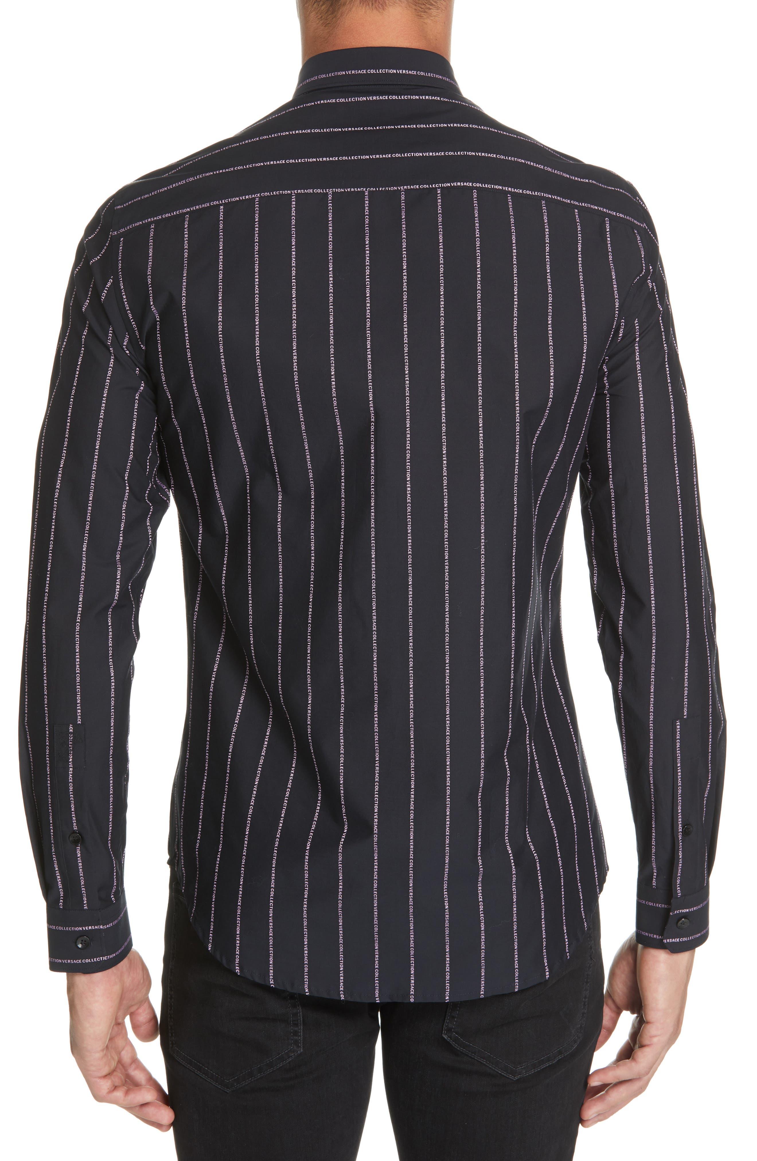 VERSACE COLLECTION, Logo Stripe Sport Shirt, Alternate thumbnail 3, color, BLACK/ PINK